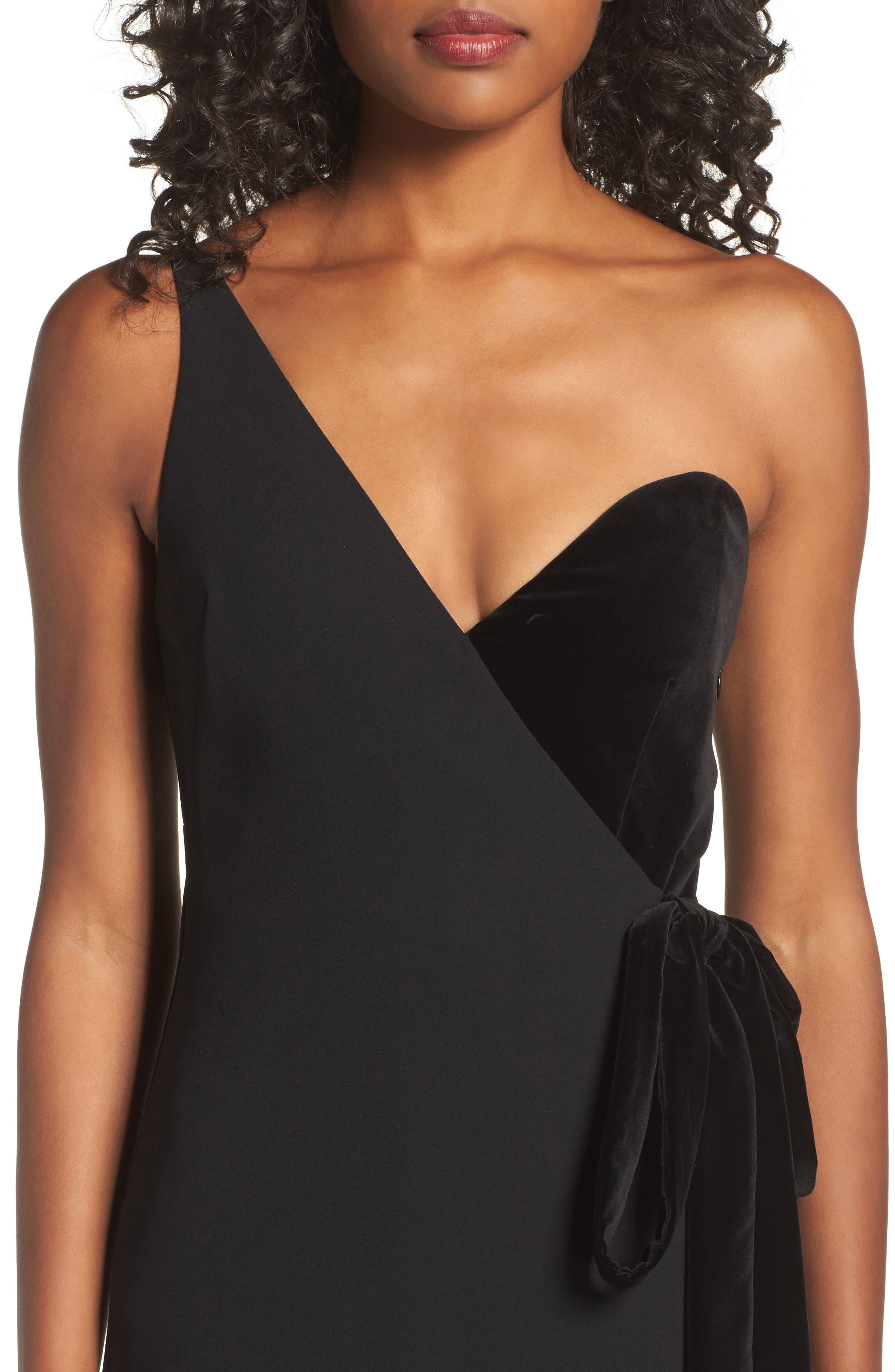 One-Shoulder Velvet Panel Gown,                             Alternate thumbnail 4, color,                             001