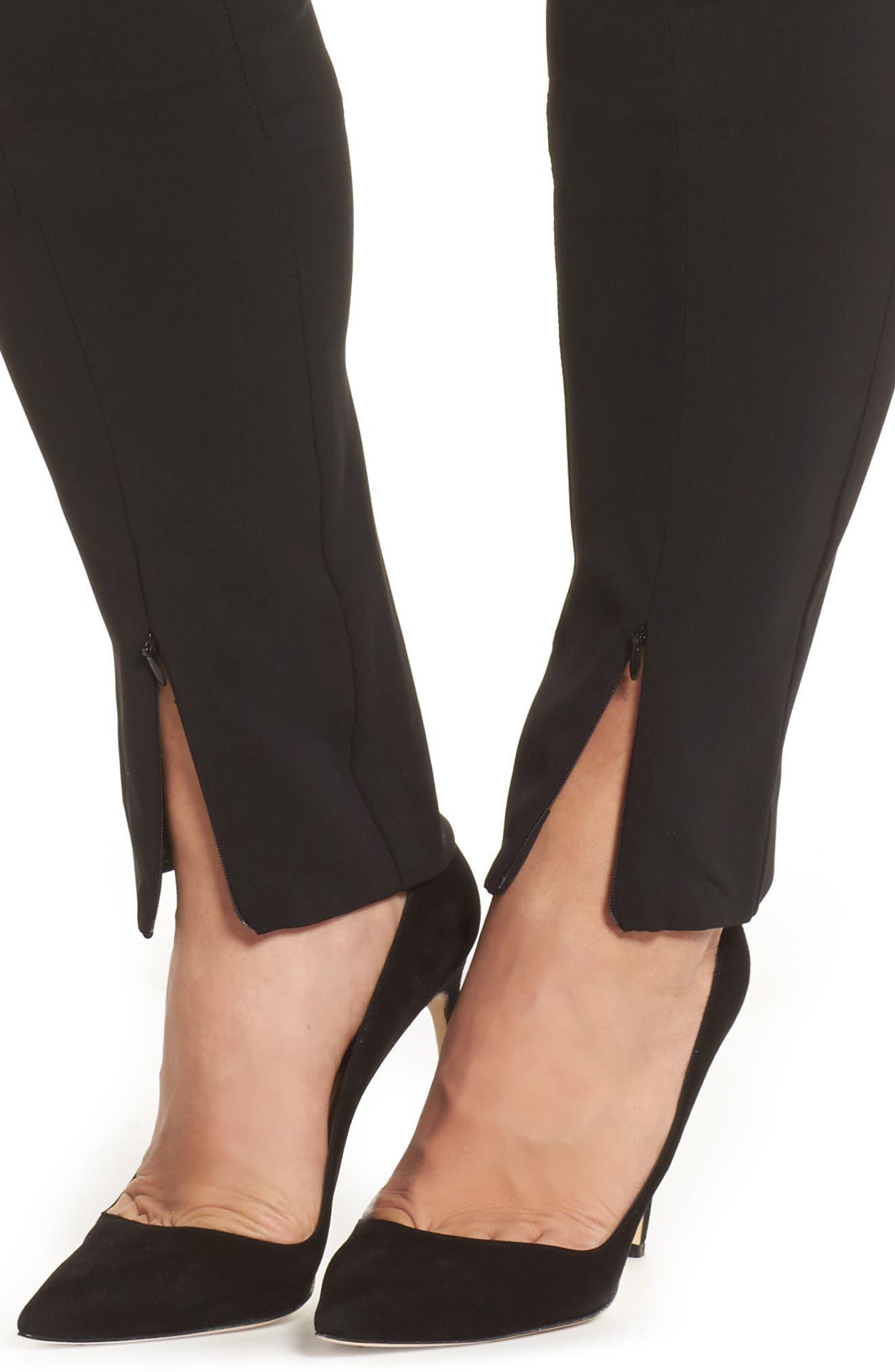 Rita Zip Split Hem Pants,                             Alternate thumbnail 4, color,                             001