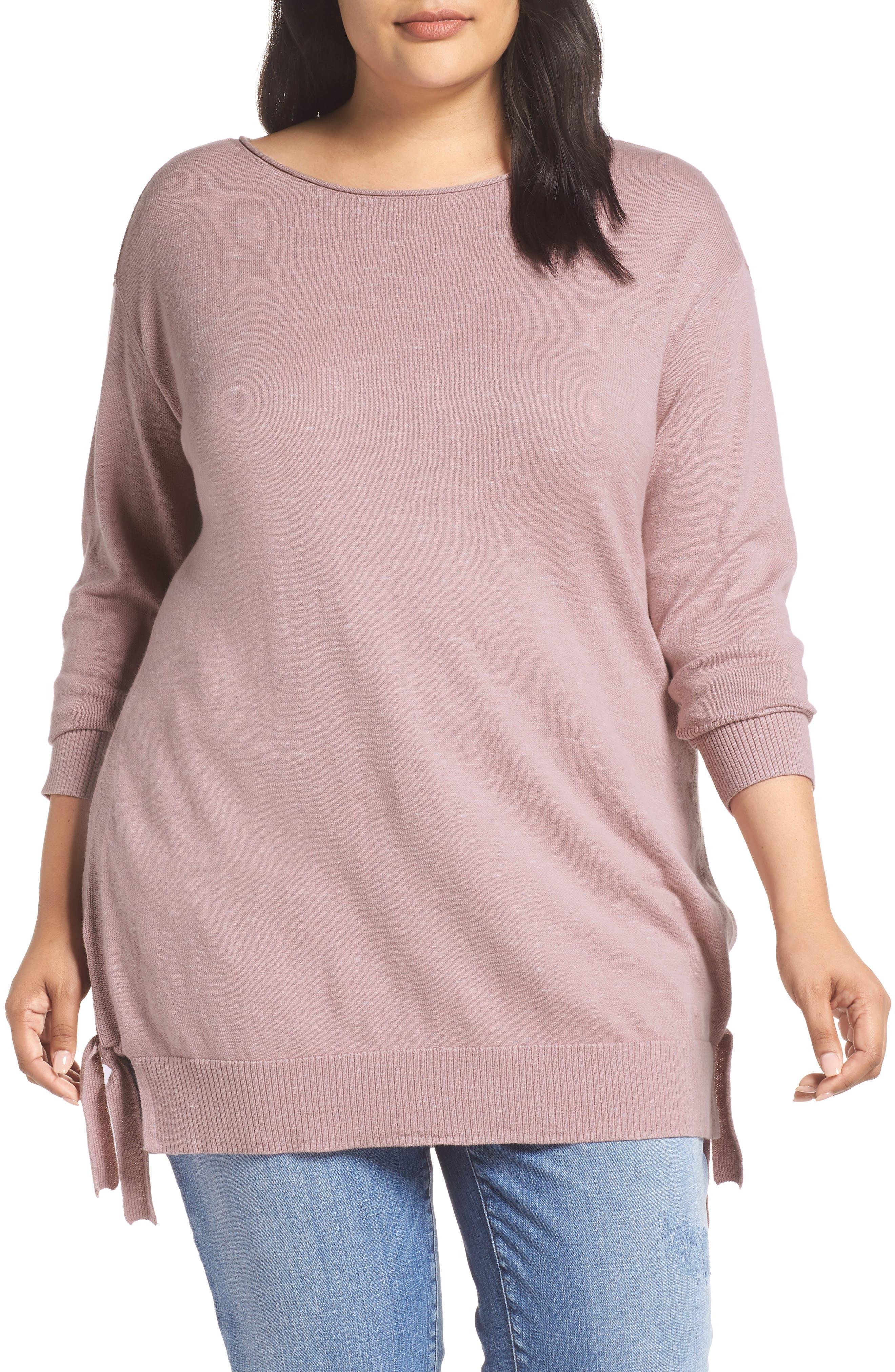 Plus Size Caslon Side Tie Detail Cotton & Wool Sweater, Pink