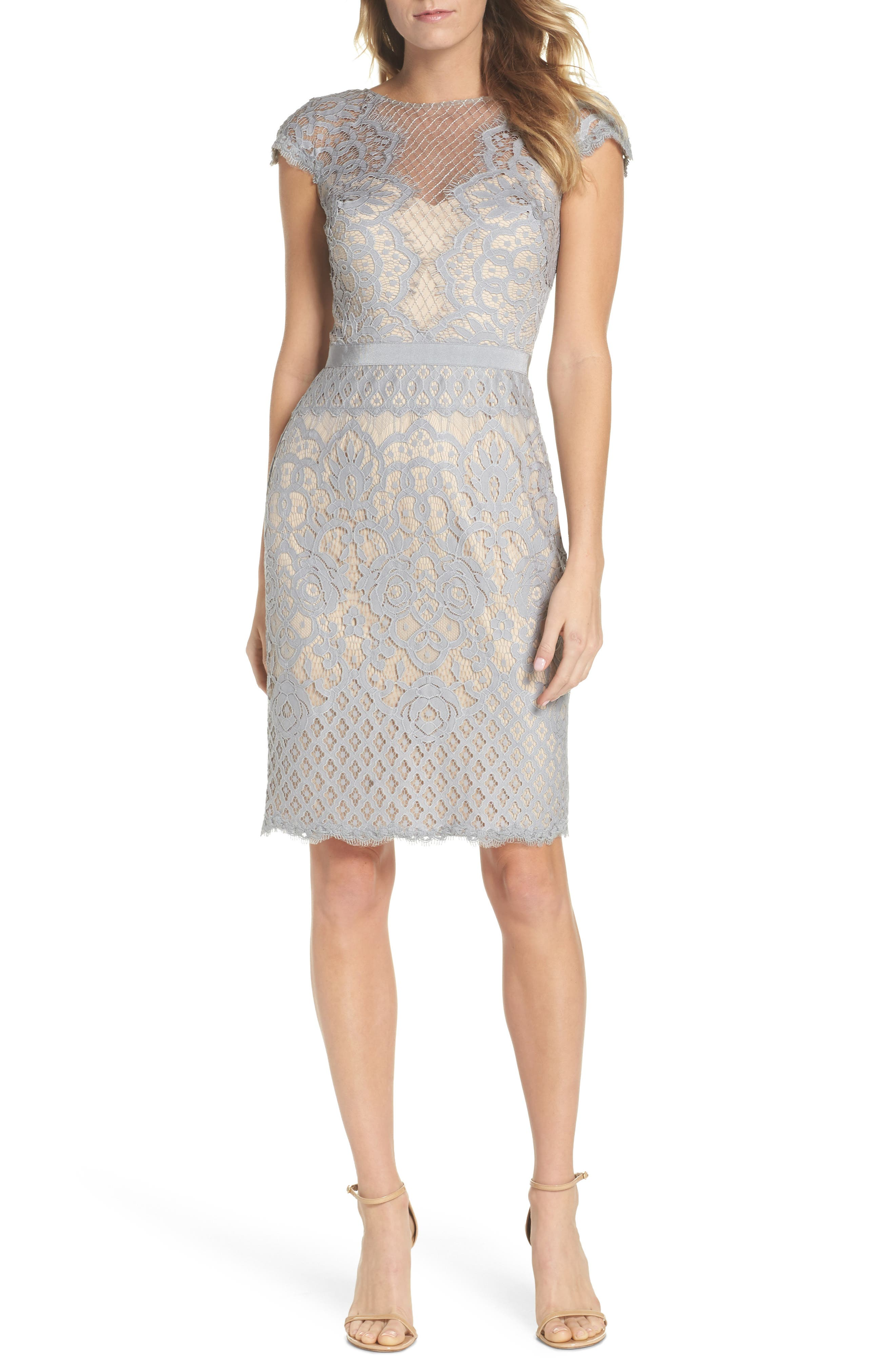 Lace Sheath Dress,                             Main thumbnail 1, color,                             PEWTER/ PETAL