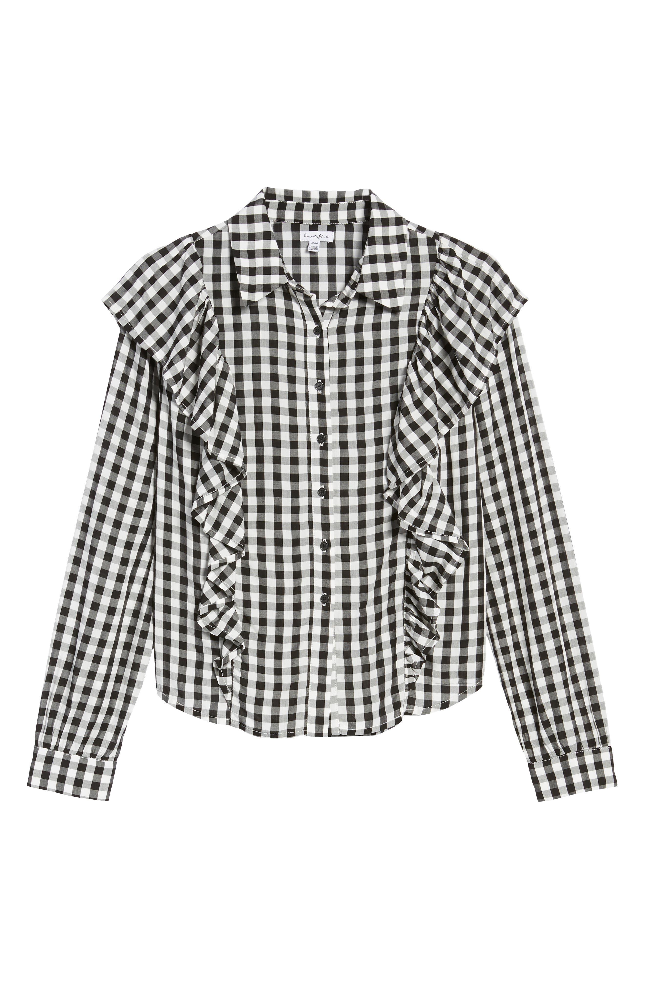 Ruffle Gingham Shirt,                             Alternate thumbnail 6, color,                             001