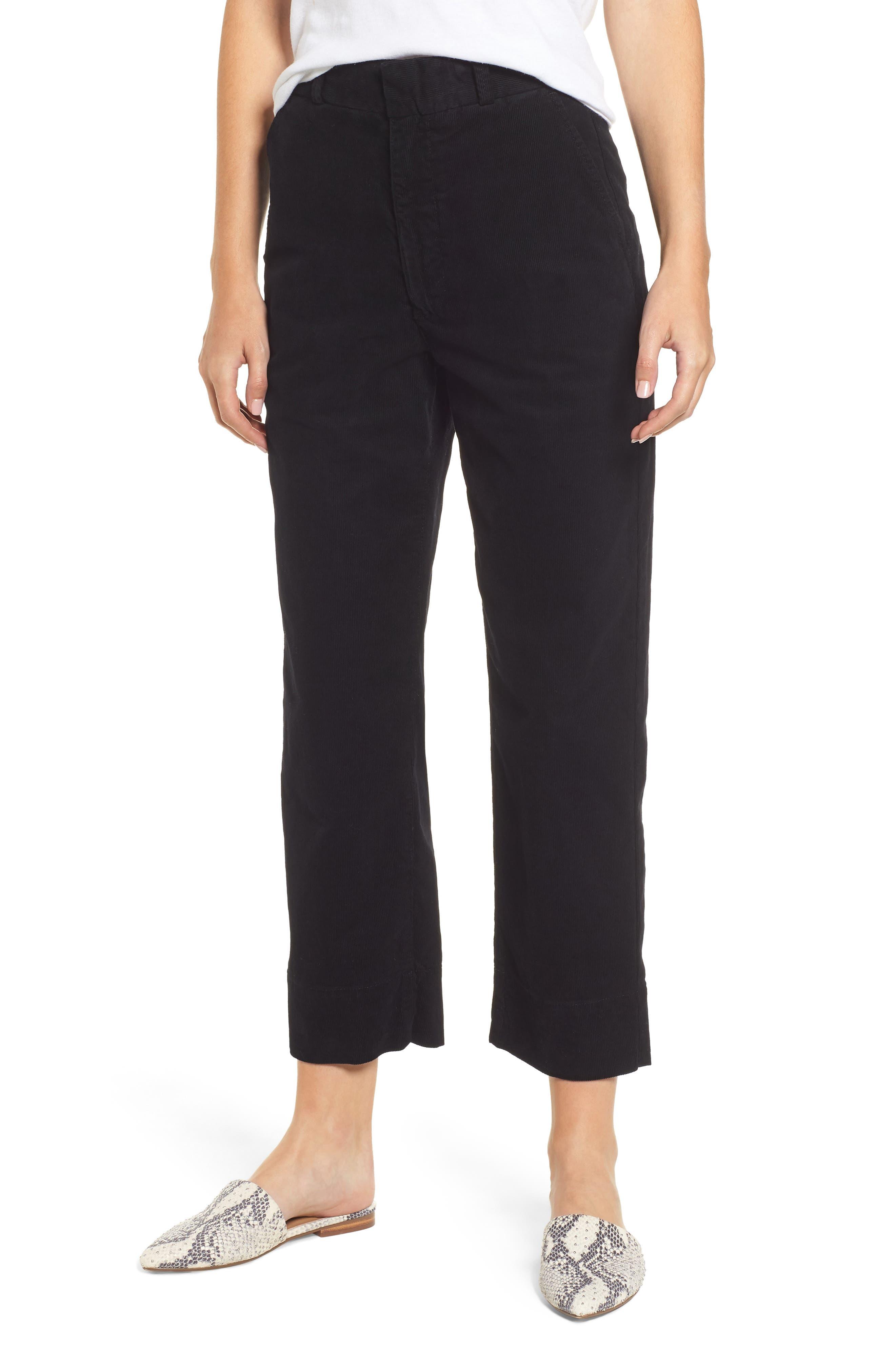AG Elvie High Waist Crop Corduroy Trousers, Main, color, 010
