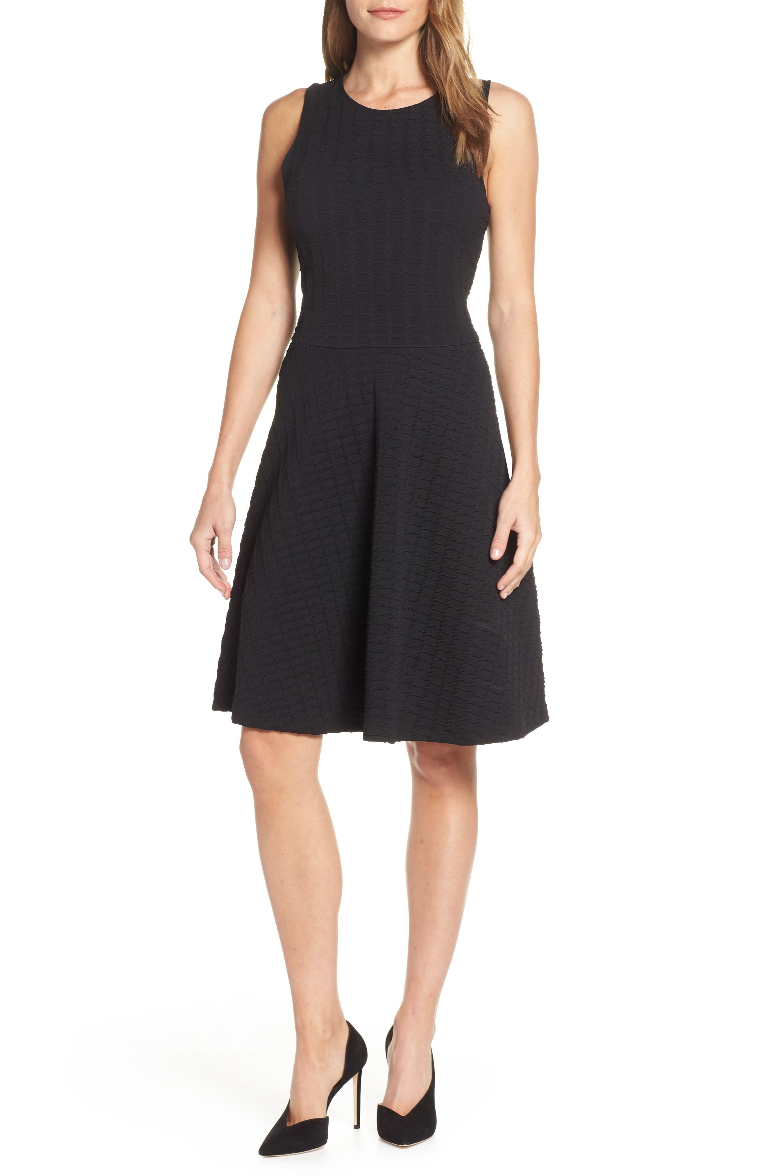 Leota Ava Textured Knit Fit & Flare Dress, Black