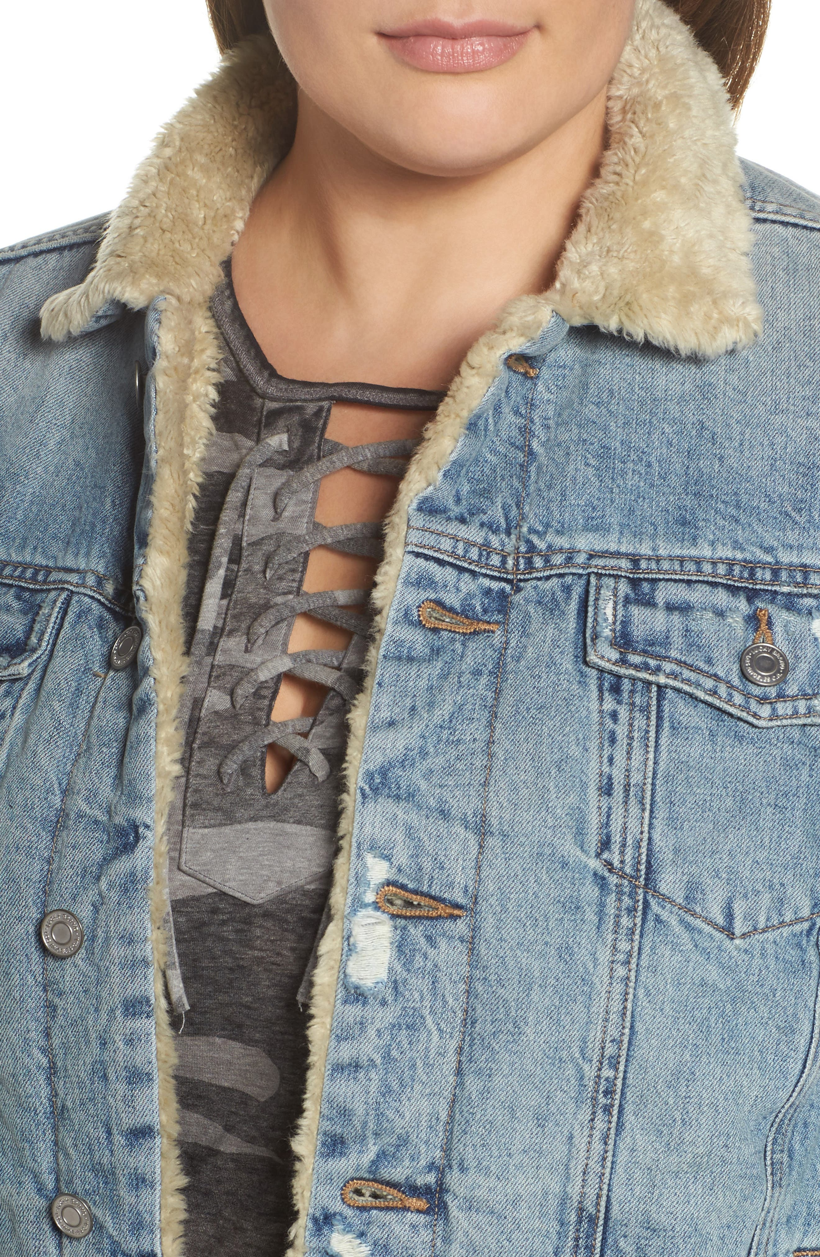 Faux Fur Collar Trucker Jacket,                             Alternate thumbnail 4, color,                             430