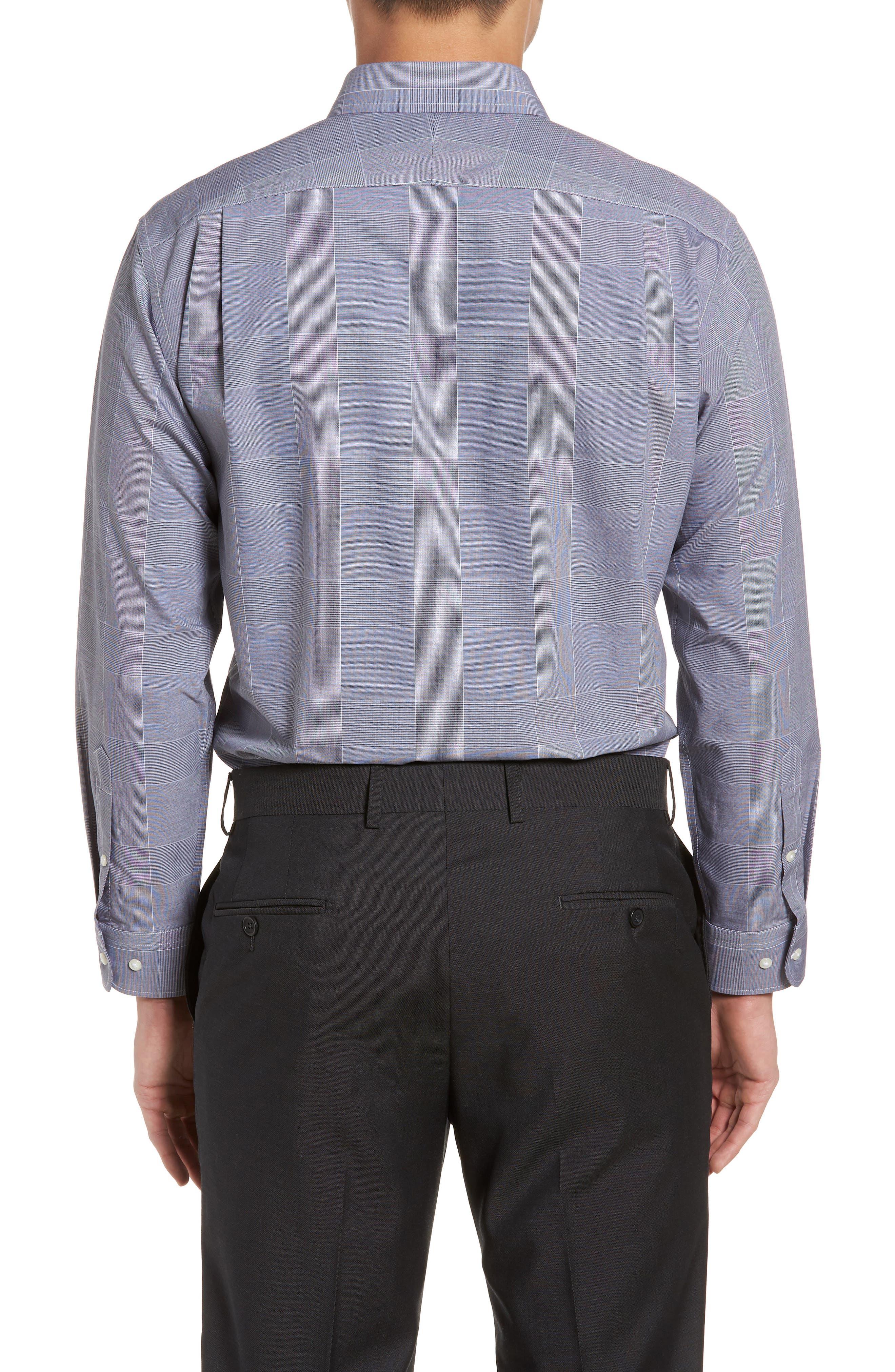 Smartcare<sup>™</sup> Trim Fit Plaid Dress Shirt,                             Alternate thumbnail 3, color,                             410
