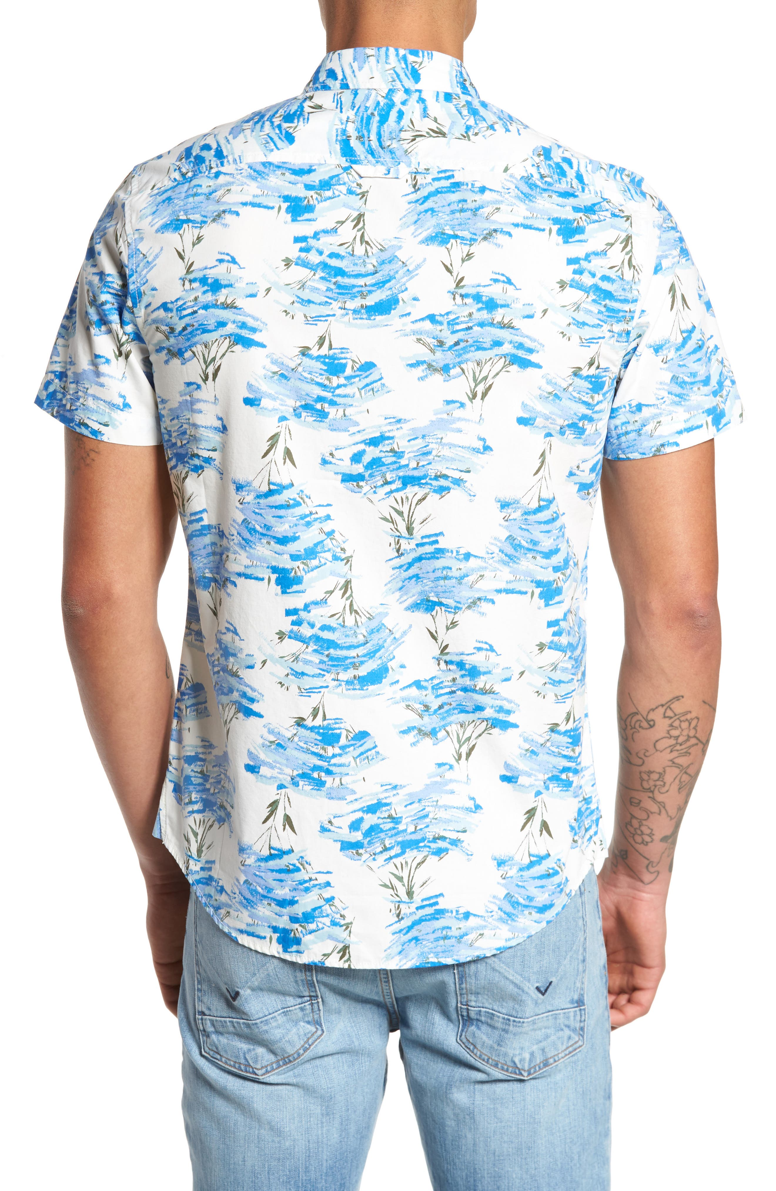 Short Sleeve Print Poplin Shirt,                             Alternate thumbnail 10, color,