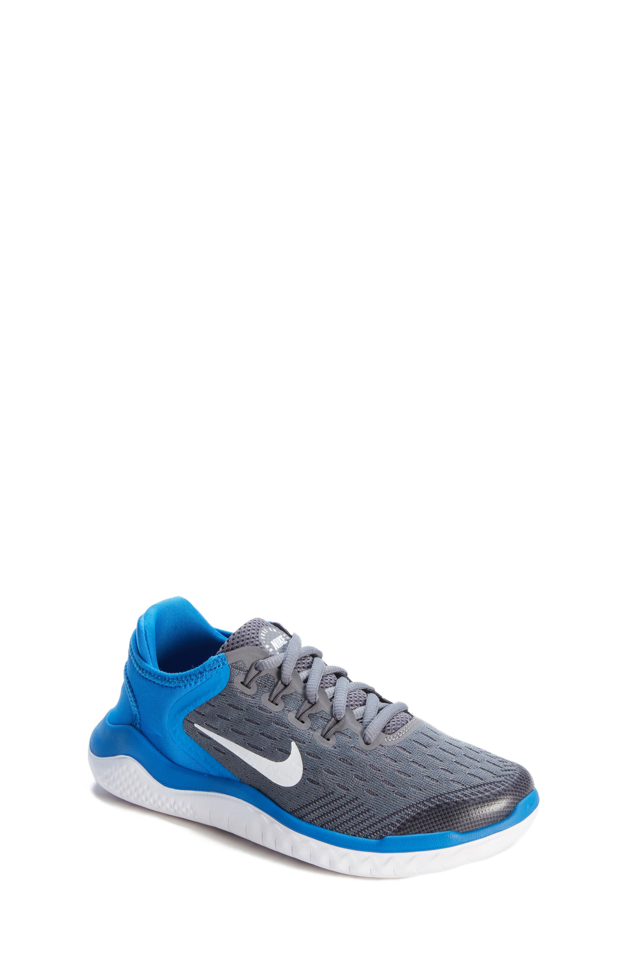 Free RN 2018 Running Shoe,                         Main,                         color, GREY/WHITE/BLUE