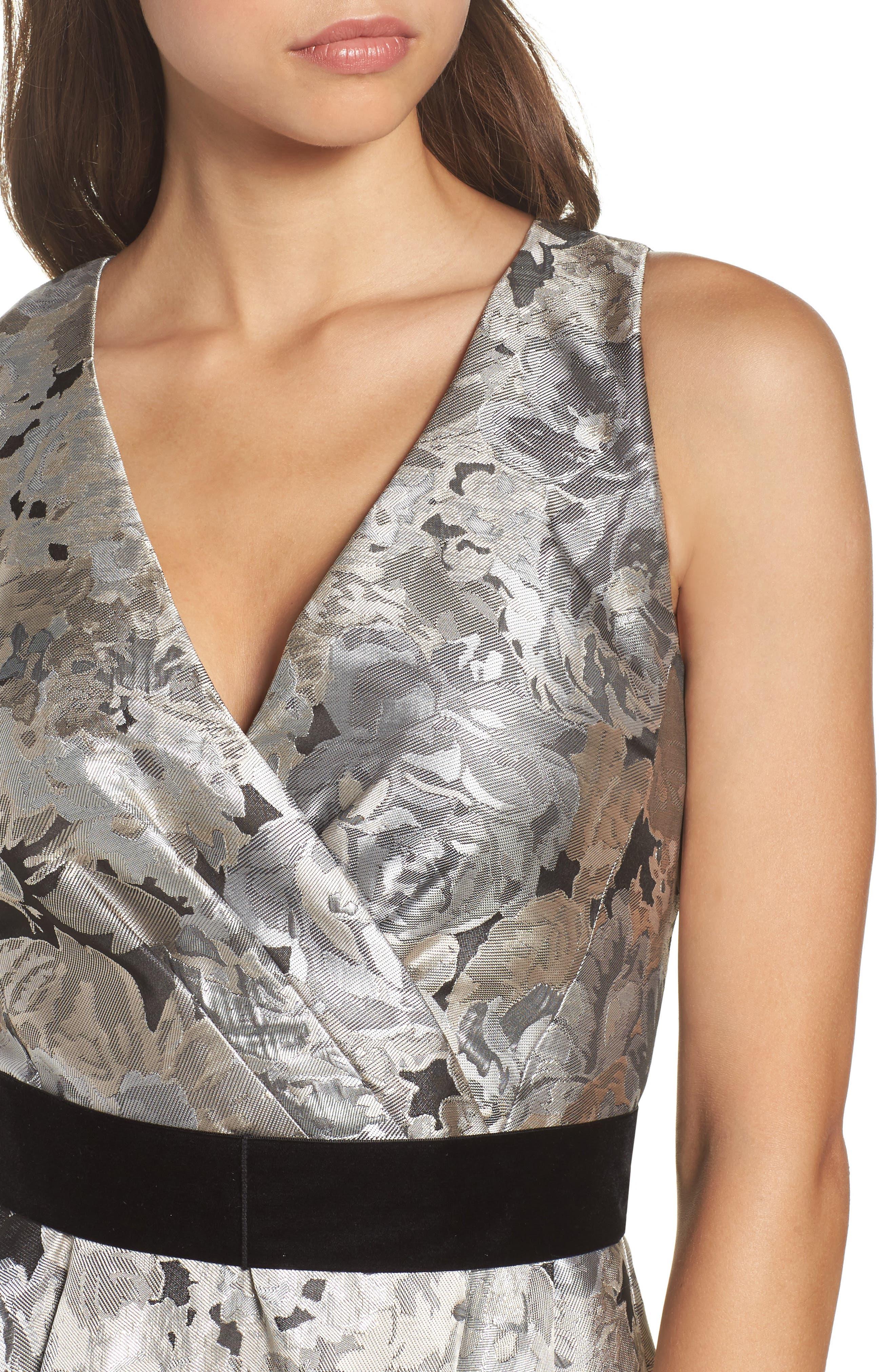 Jacquard High/Low Dress,                             Alternate thumbnail 4, color,                             043