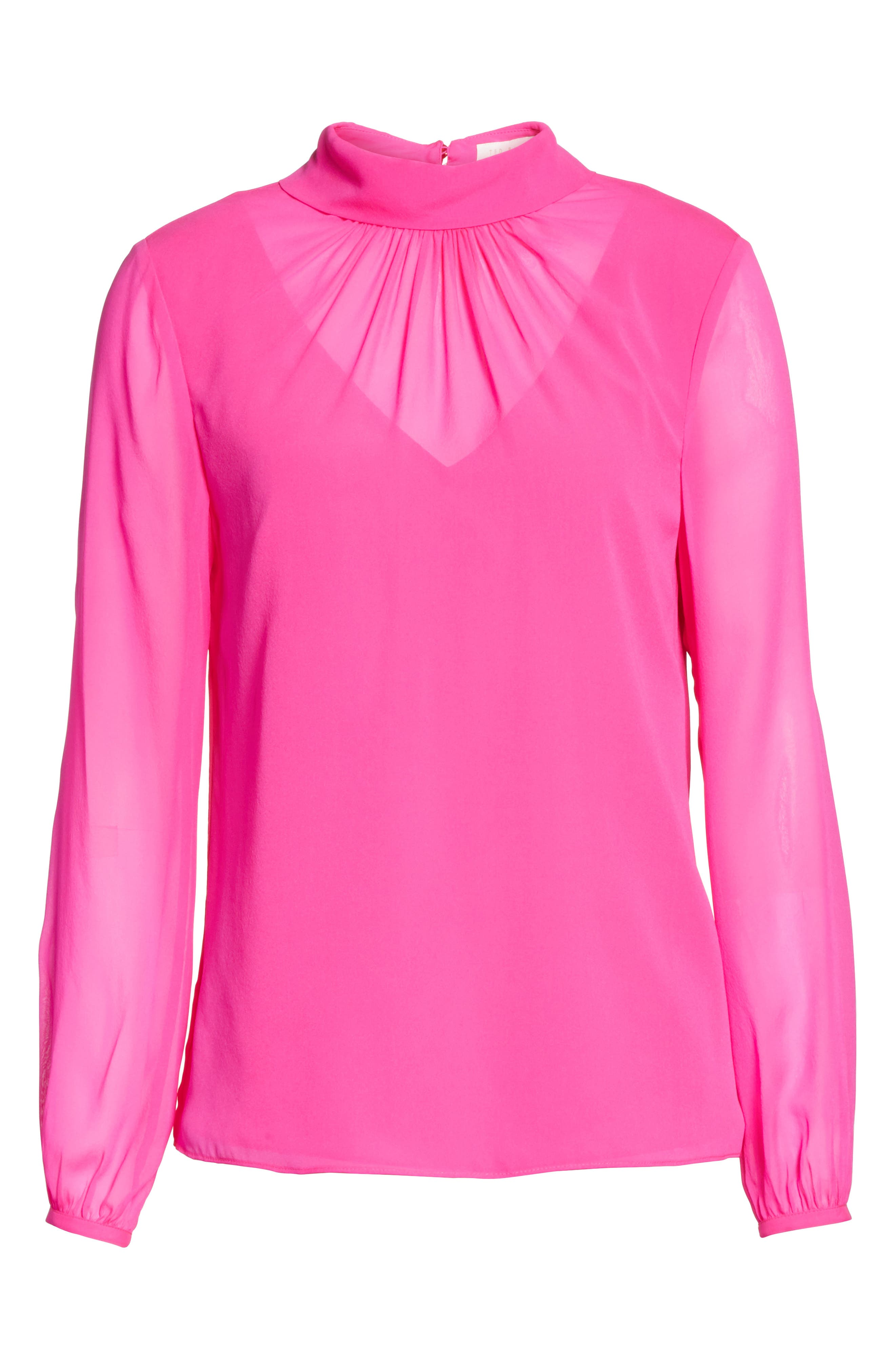 Ruched Silk High Neck Blouse,                             Alternate thumbnail 6, color,