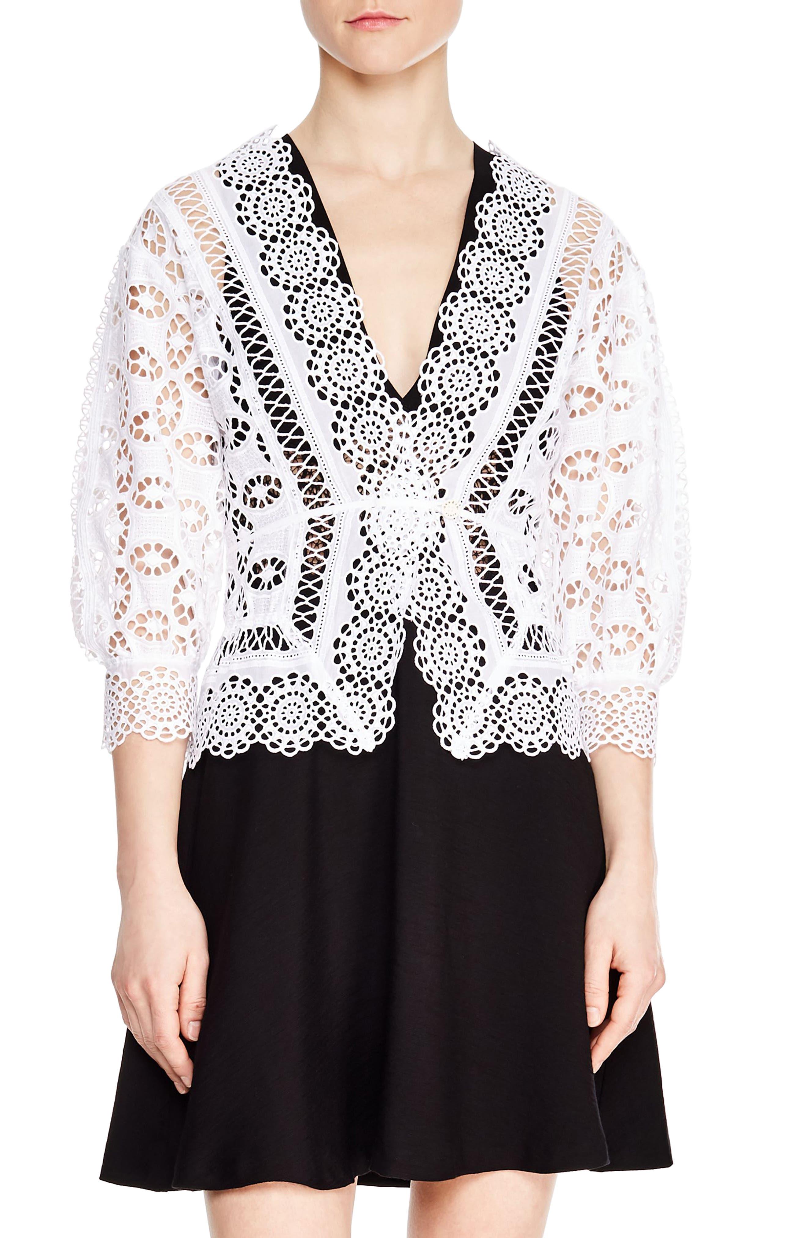 Paula Crochet Top,                             Main thumbnail 1, color,                             WHITE