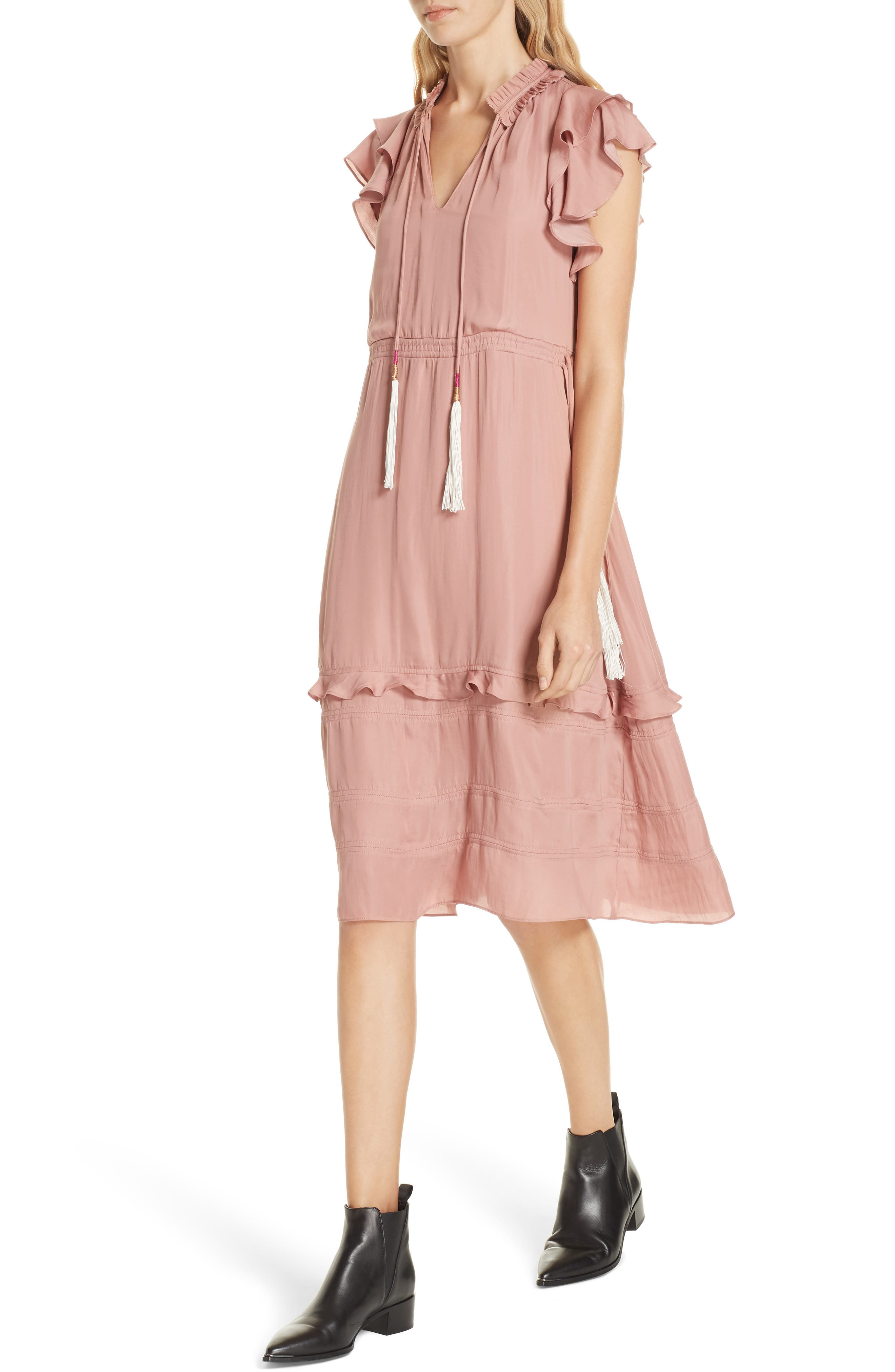 Tassel Tie Midi Dress,                             Alternate thumbnail 4, color,                             ROSE WOOD