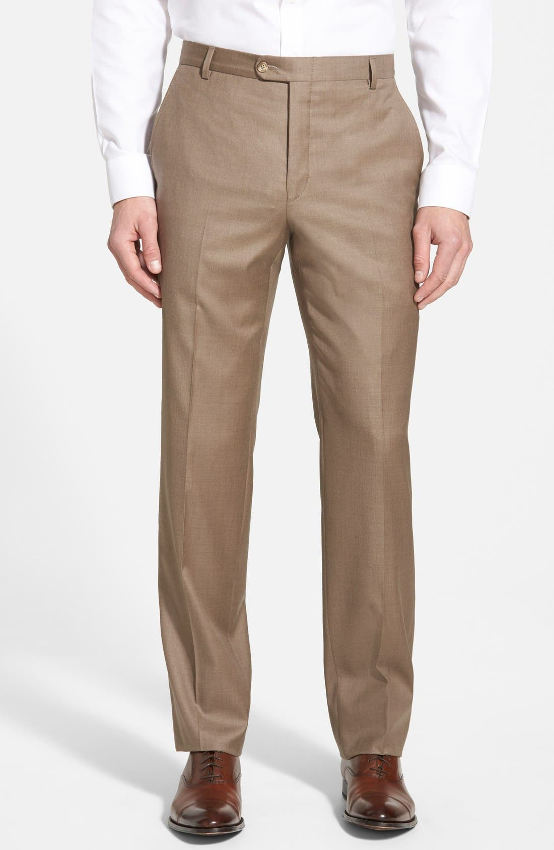Classic B Fit Flat Front Wool Trousers,                         Main,                         color, 230