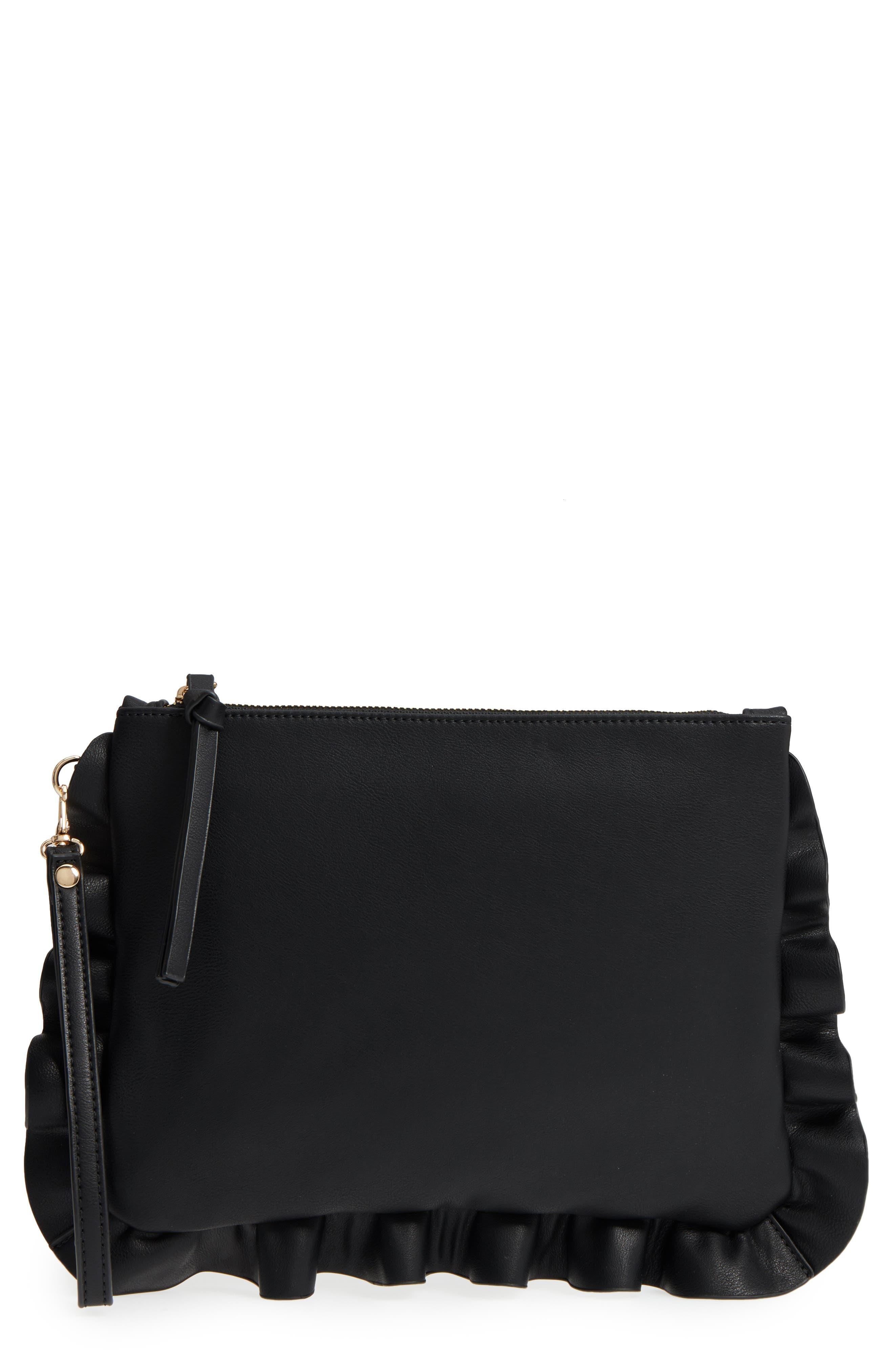 Adelina Faux Leather Ruffle Clutch,                             Main thumbnail 1, color,                             BLACK