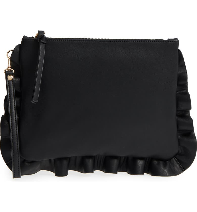 Adelina Faux Leather Ruffle Clutch