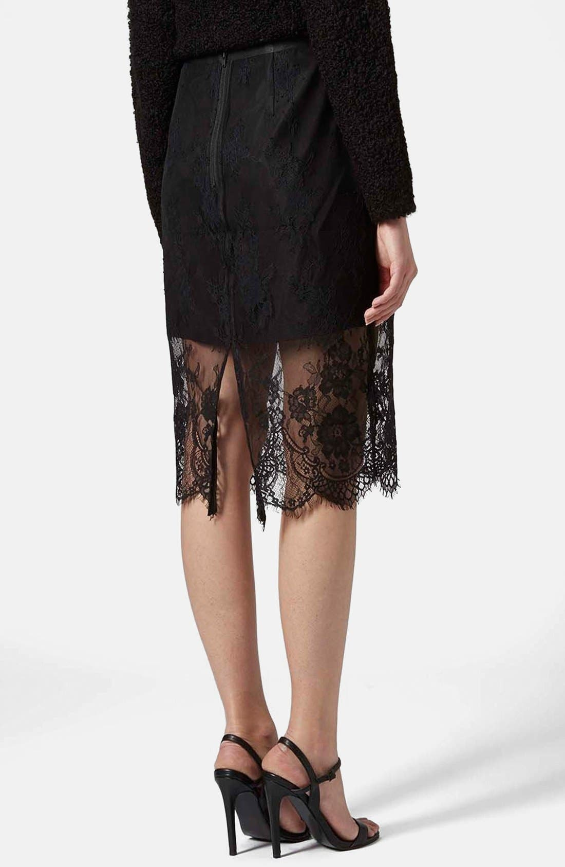 TOPSHOP,                             Lace Overlay Pencil Skirt,                             Alternate thumbnail 2, color,                             001