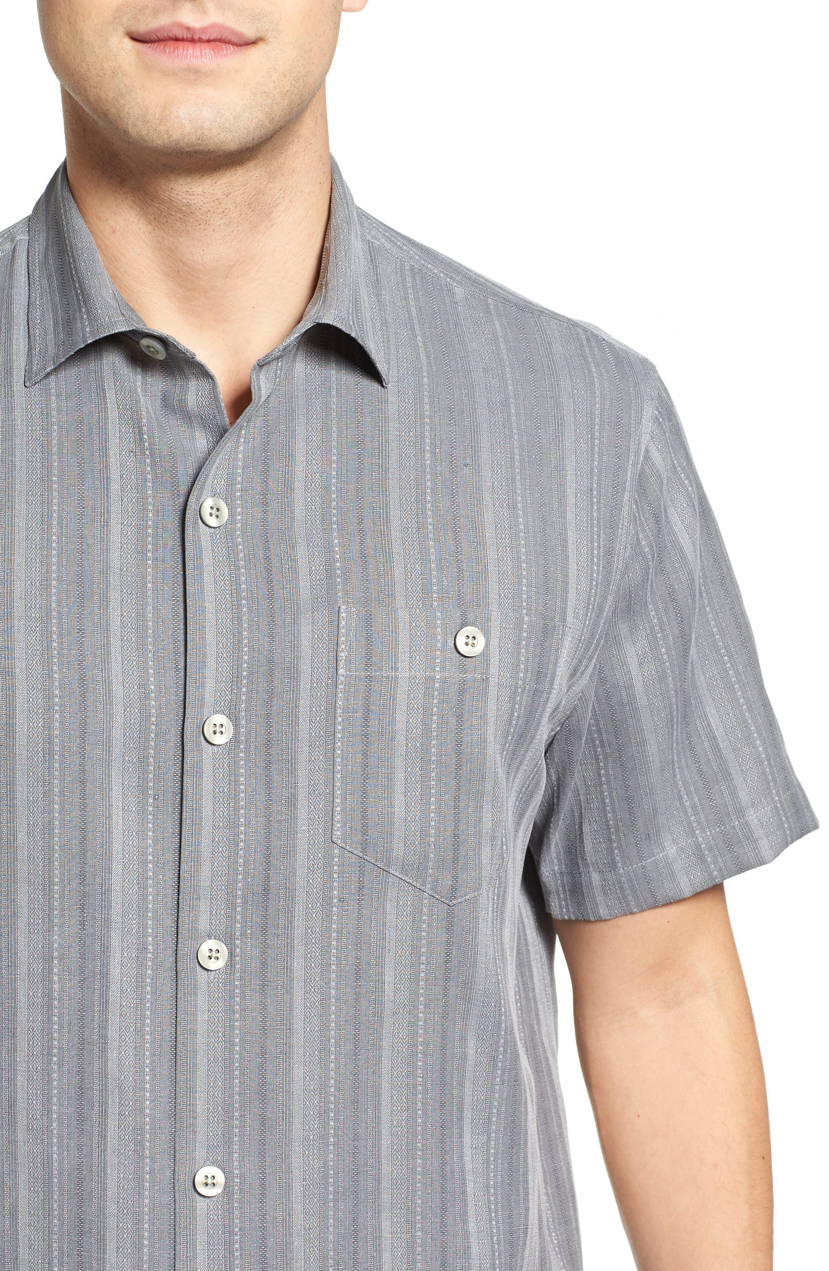 Zaldera Stripe Silk Camp Shirt,                             Alternate thumbnail 4, color,                             050