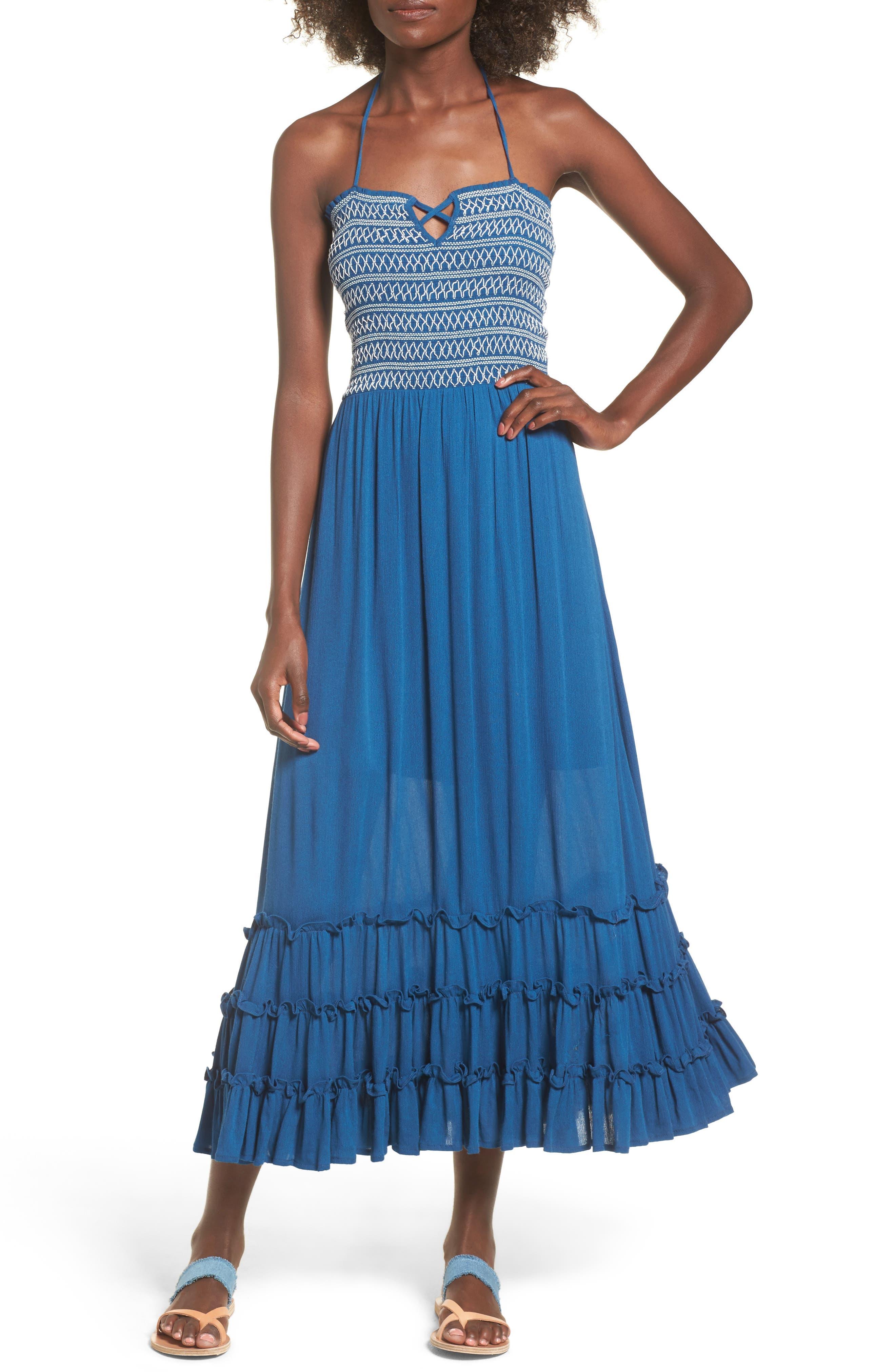 Sailor Smocked Maxi Dress,                             Main thumbnail 1, color,