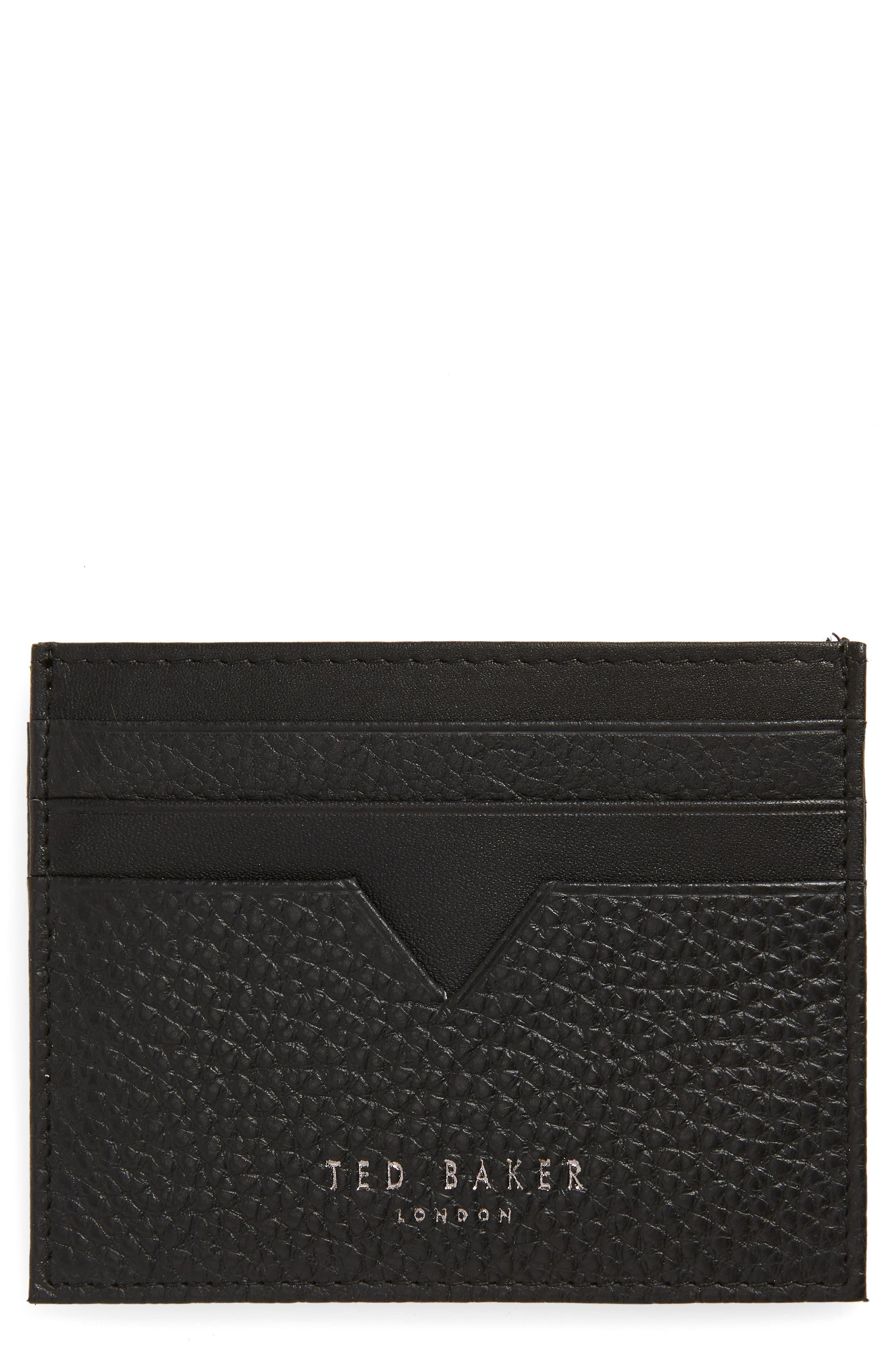 Pebbled Leather Card Holder,                         Main,                         color, BLACK