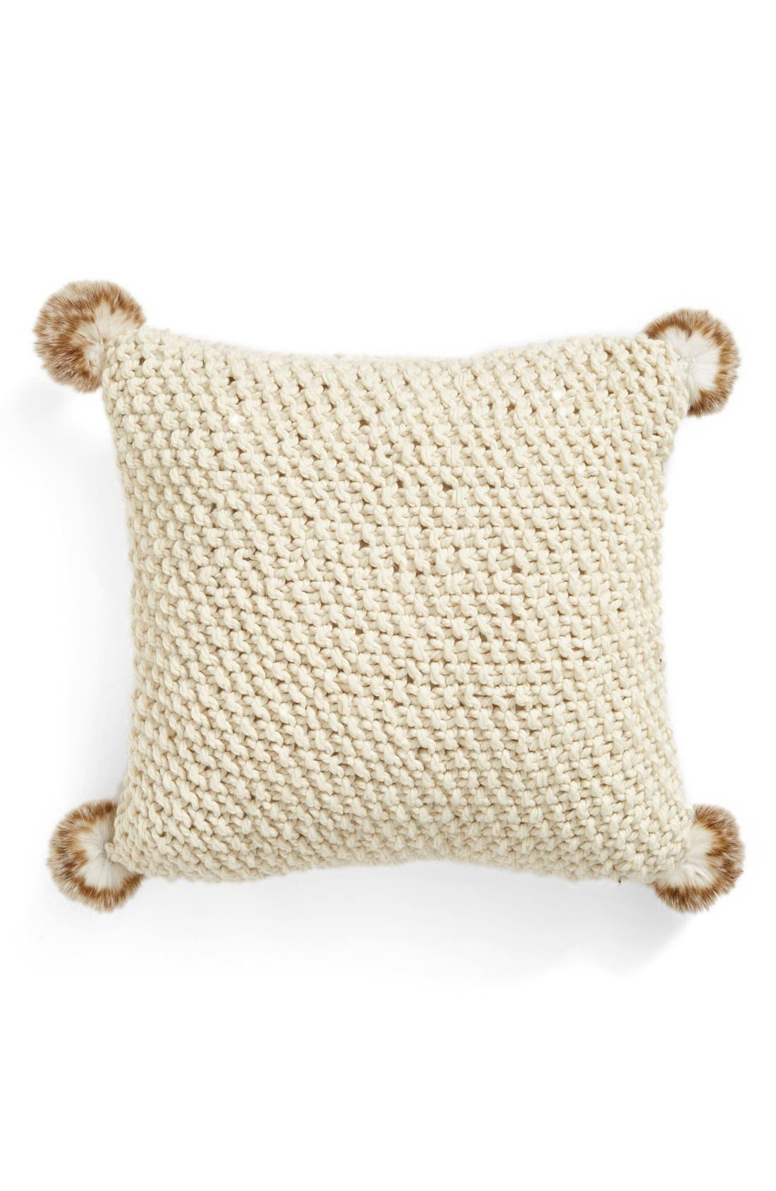 Knit Accent Pillow with Faux Fur Poms,                             Alternate thumbnail 4, color,                             IVORY