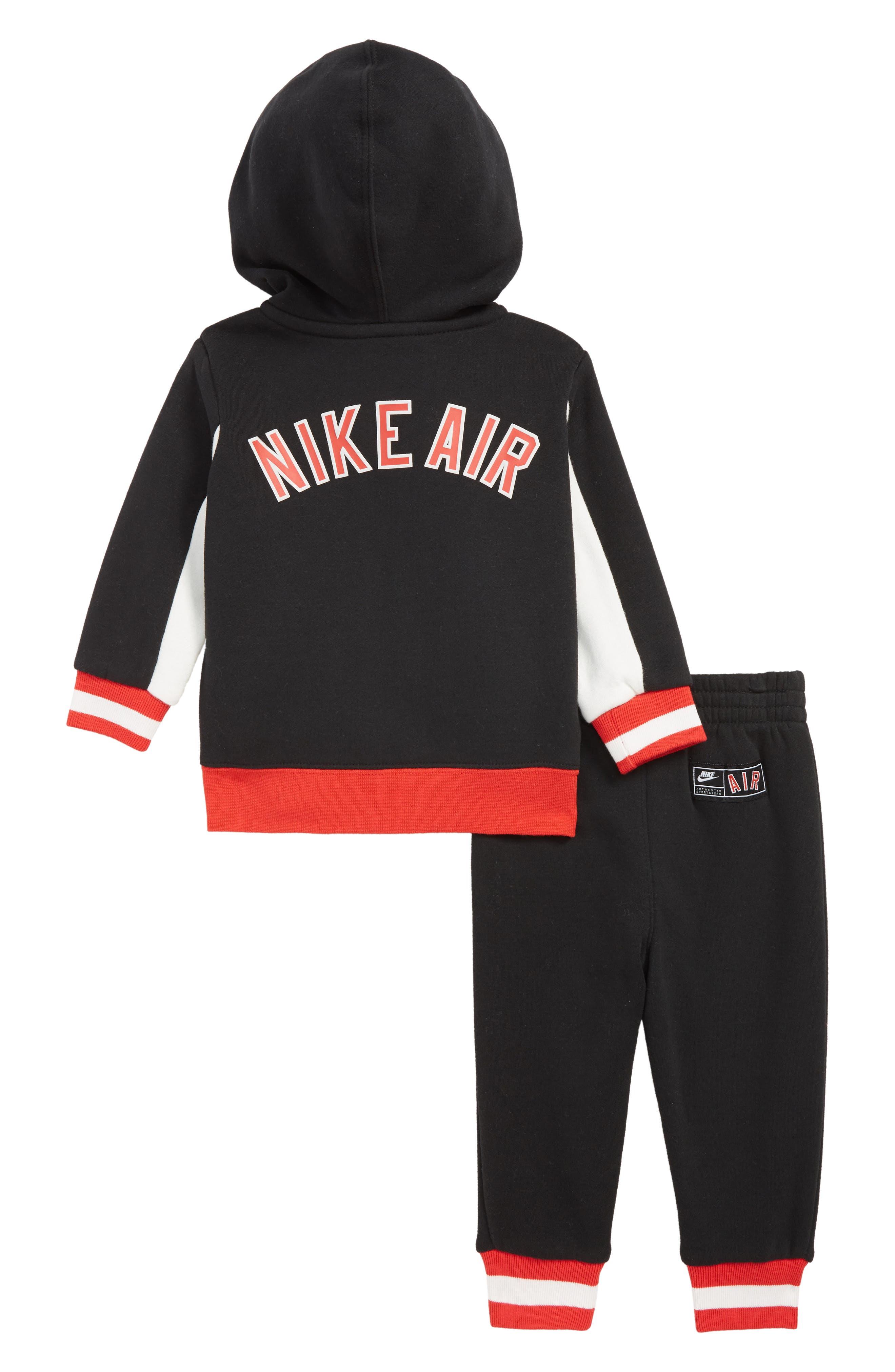 Air Zip Hoodie & Jogger Pants Set,                             Alternate thumbnail 2, color,                             BLACK