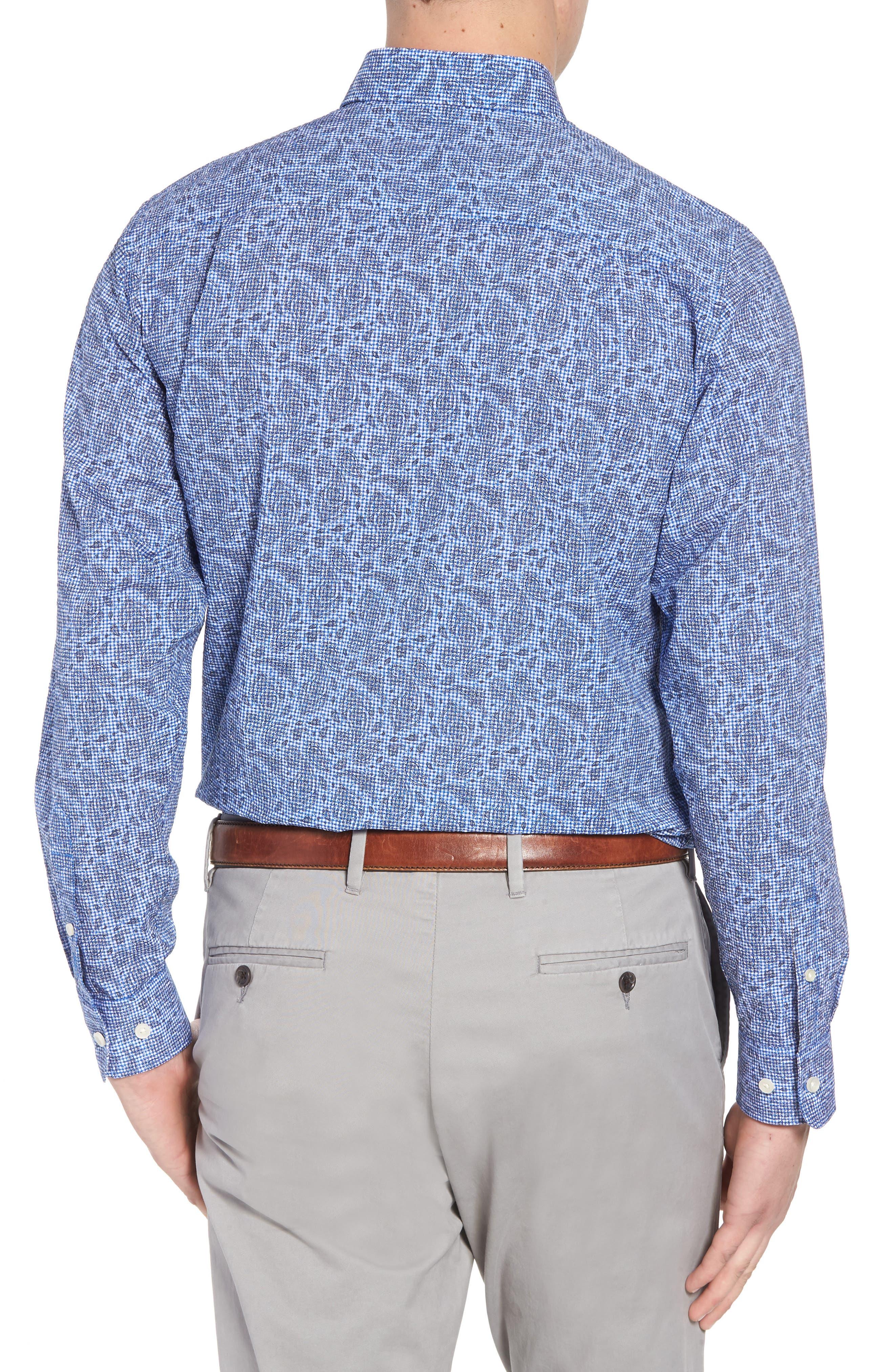 Jameson Classic Fit Print Seersucker Sport Shirt,                             Alternate thumbnail 4, color,