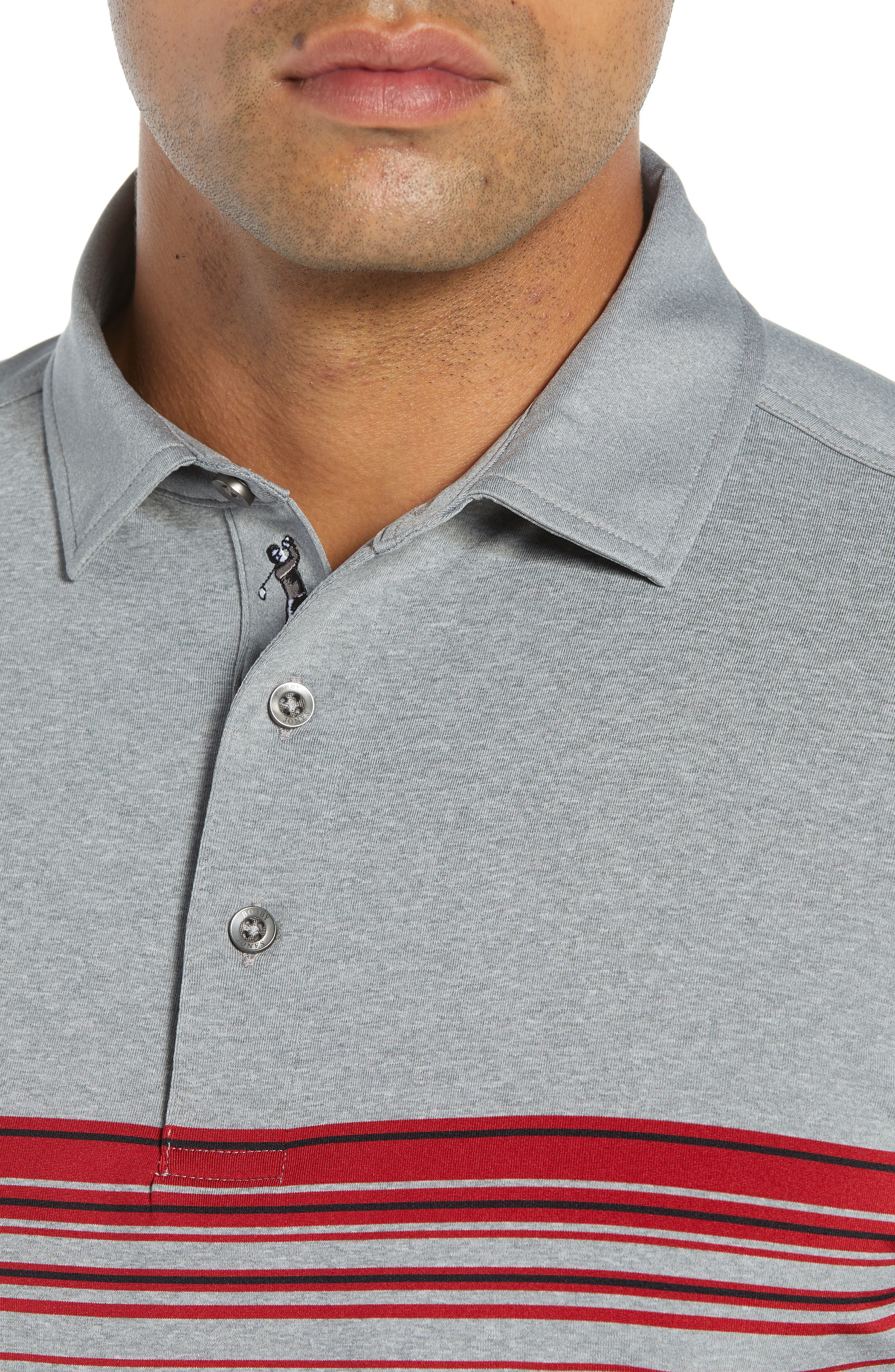 XH20 Gable Stripe Jersey Polo,                             Alternate thumbnail 4, color,                             GRAPHITE