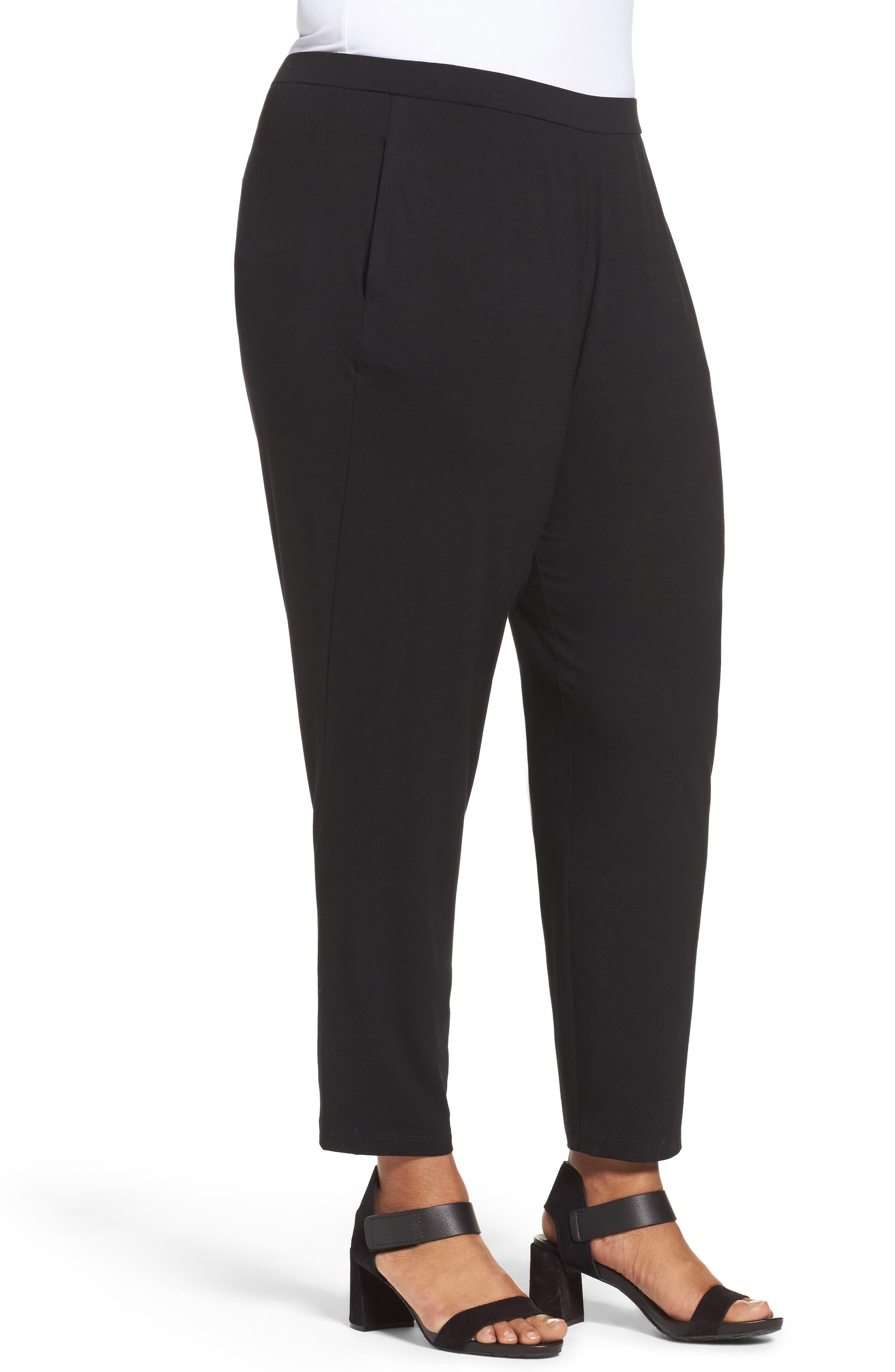 Crop Stretch Knit Pants,                             Alternate thumbnail 3, color,                             BLACK