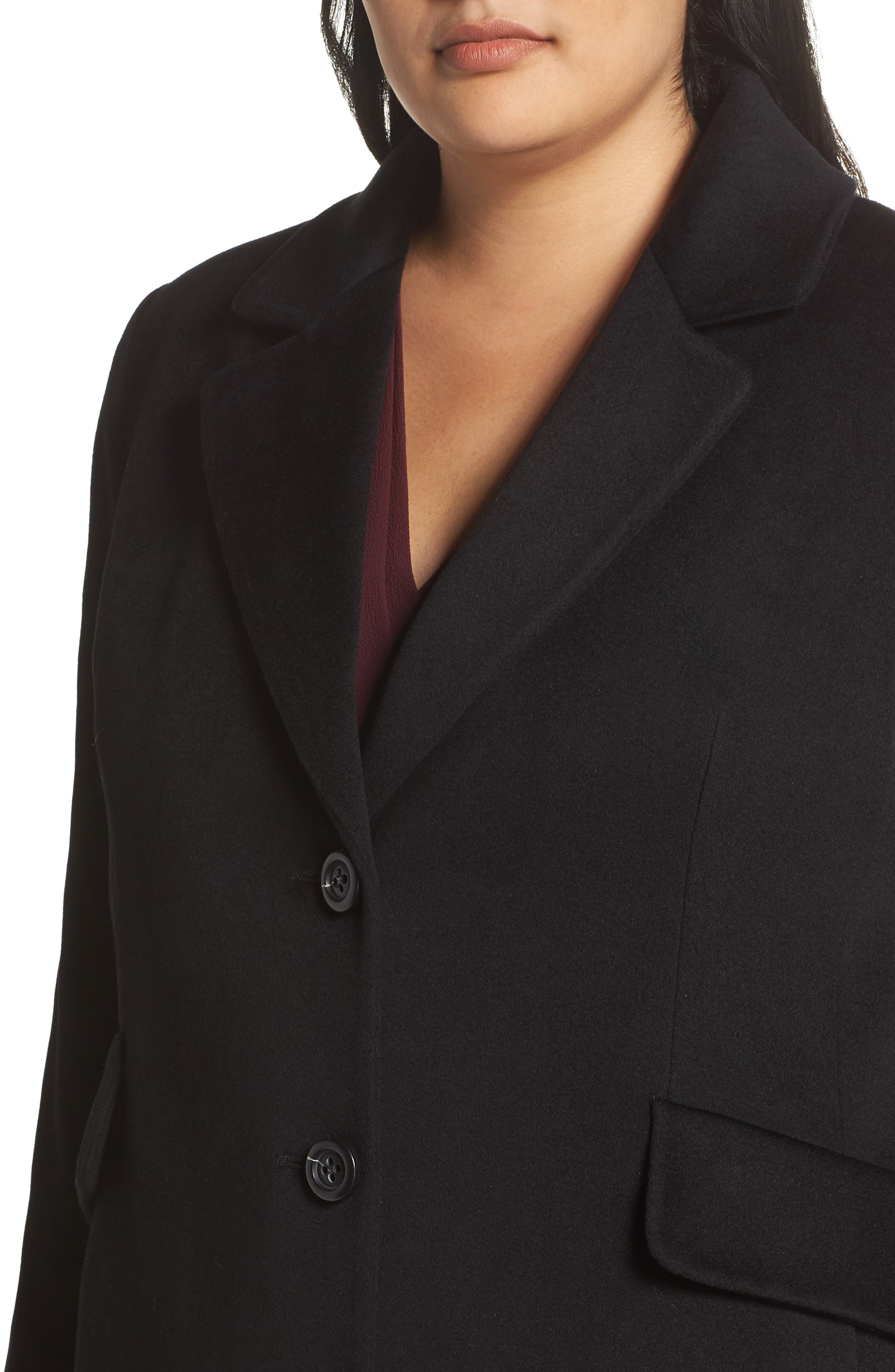FLEURETTE,                             Maxi Reefer Wool Coat,                             Alternate thumbnail 4, color,                             BLACK