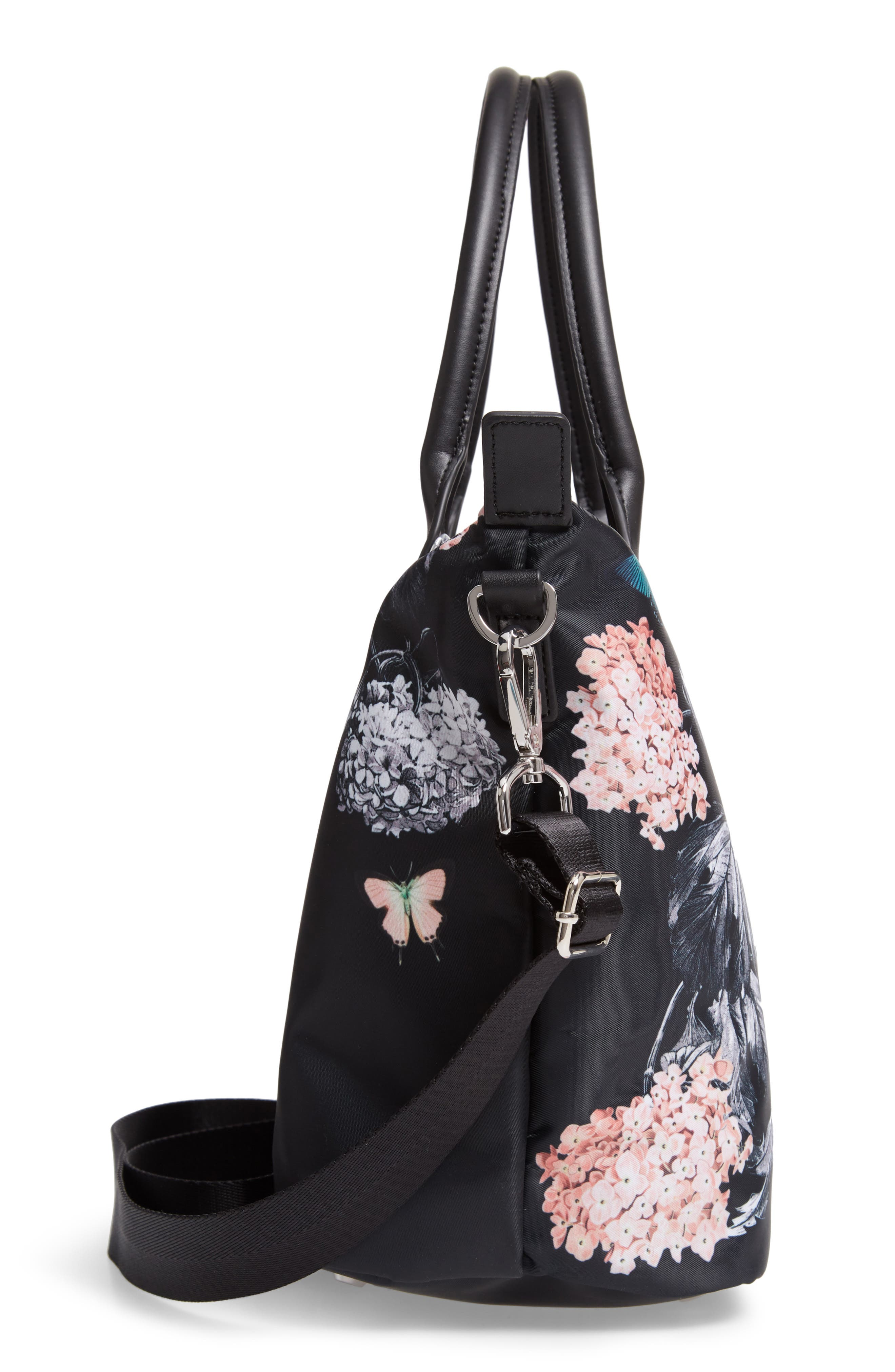Small Margey Narrnia Print Tote,                             Alternate thumbnail 5, color,                             BLACK
