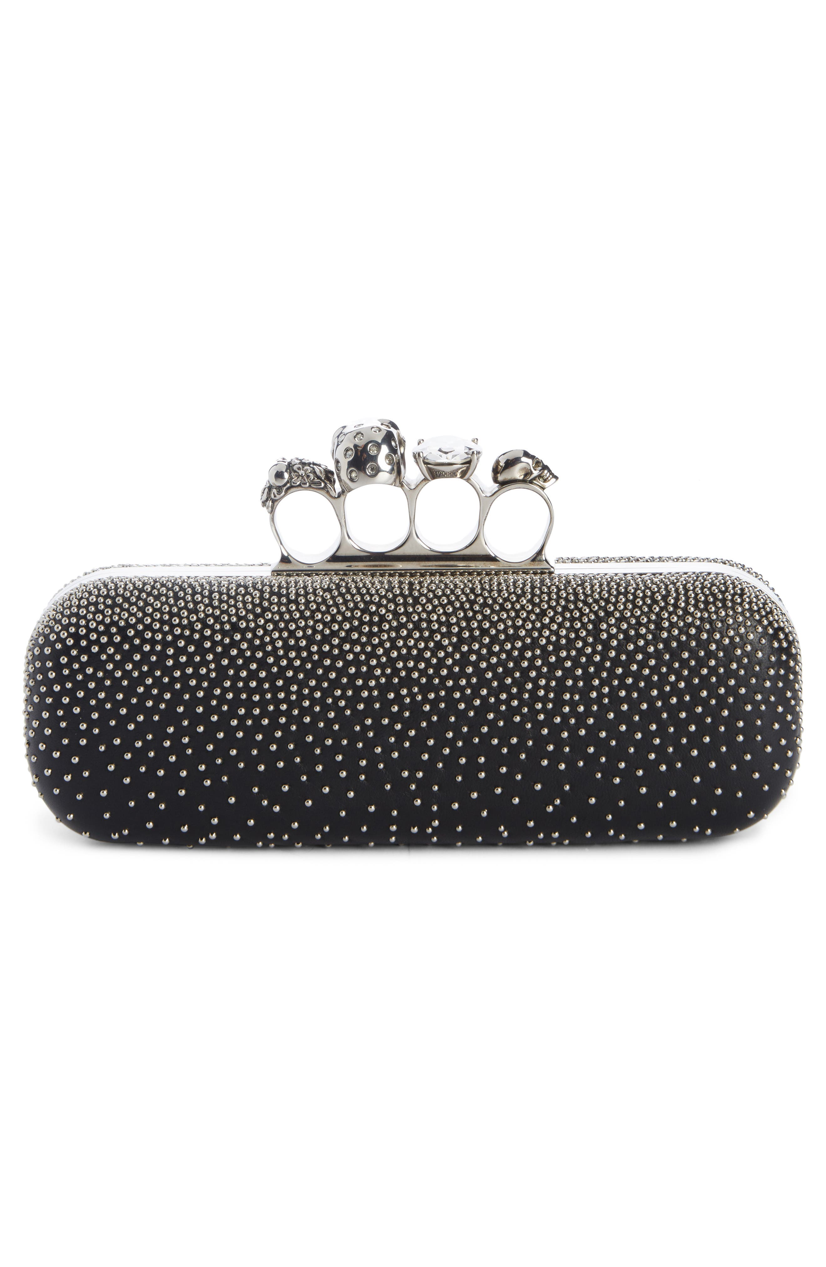 Studded Lambskin Leather Knuckle Clutch,                             Alternate thumbnail 2, color,                             BLACK