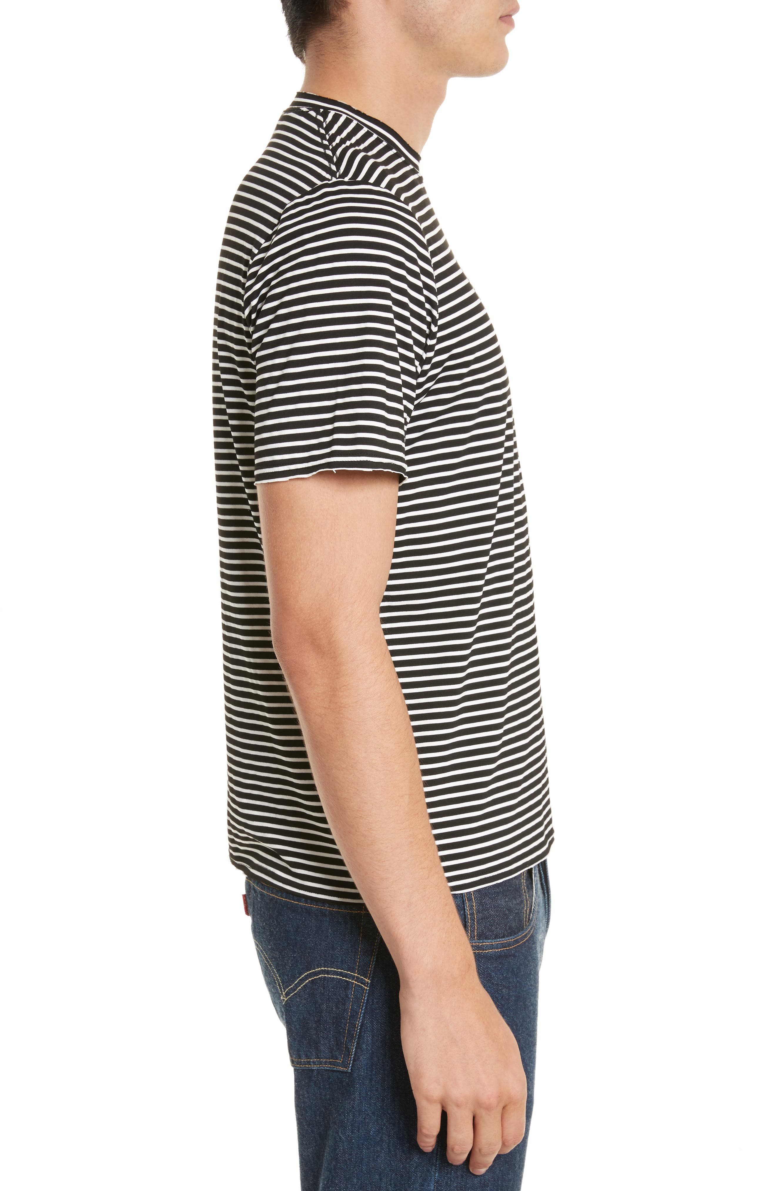Raw Edge Stripe T-Shirt,                             Alternate thumbnail 3, color,                             008