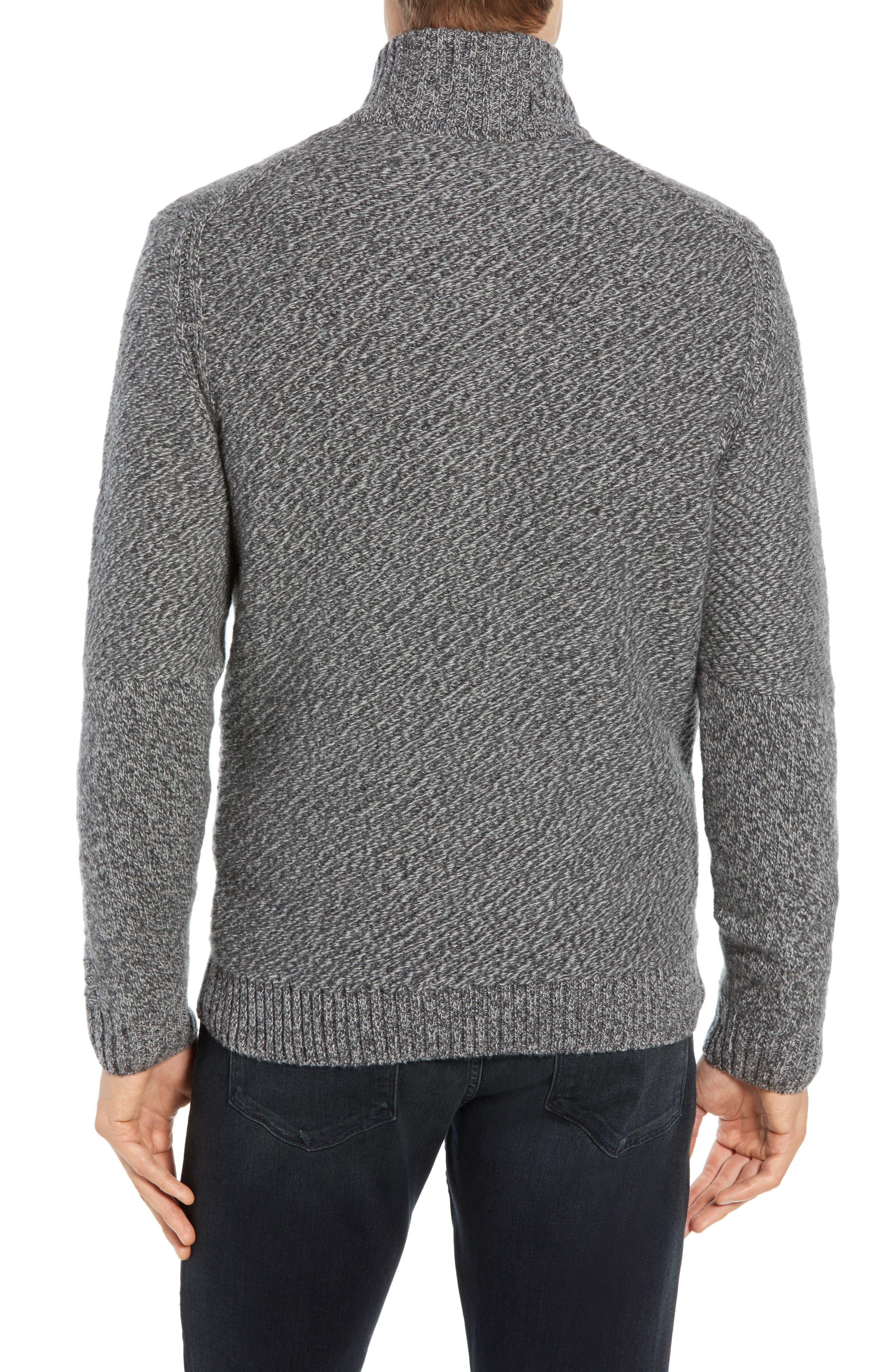 Cashmere Half Zip Sweater,                             Alternate thumbnail 2, color,                             CHARCOAL