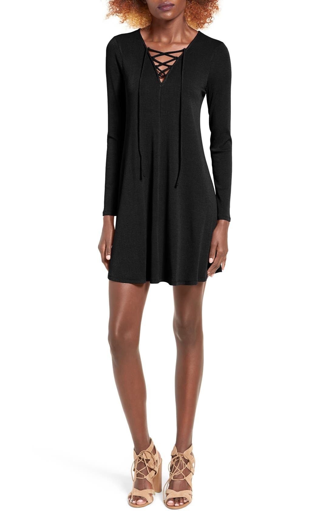 Rib Knit Lace-Up Swing Dress,                         Main,                         color,