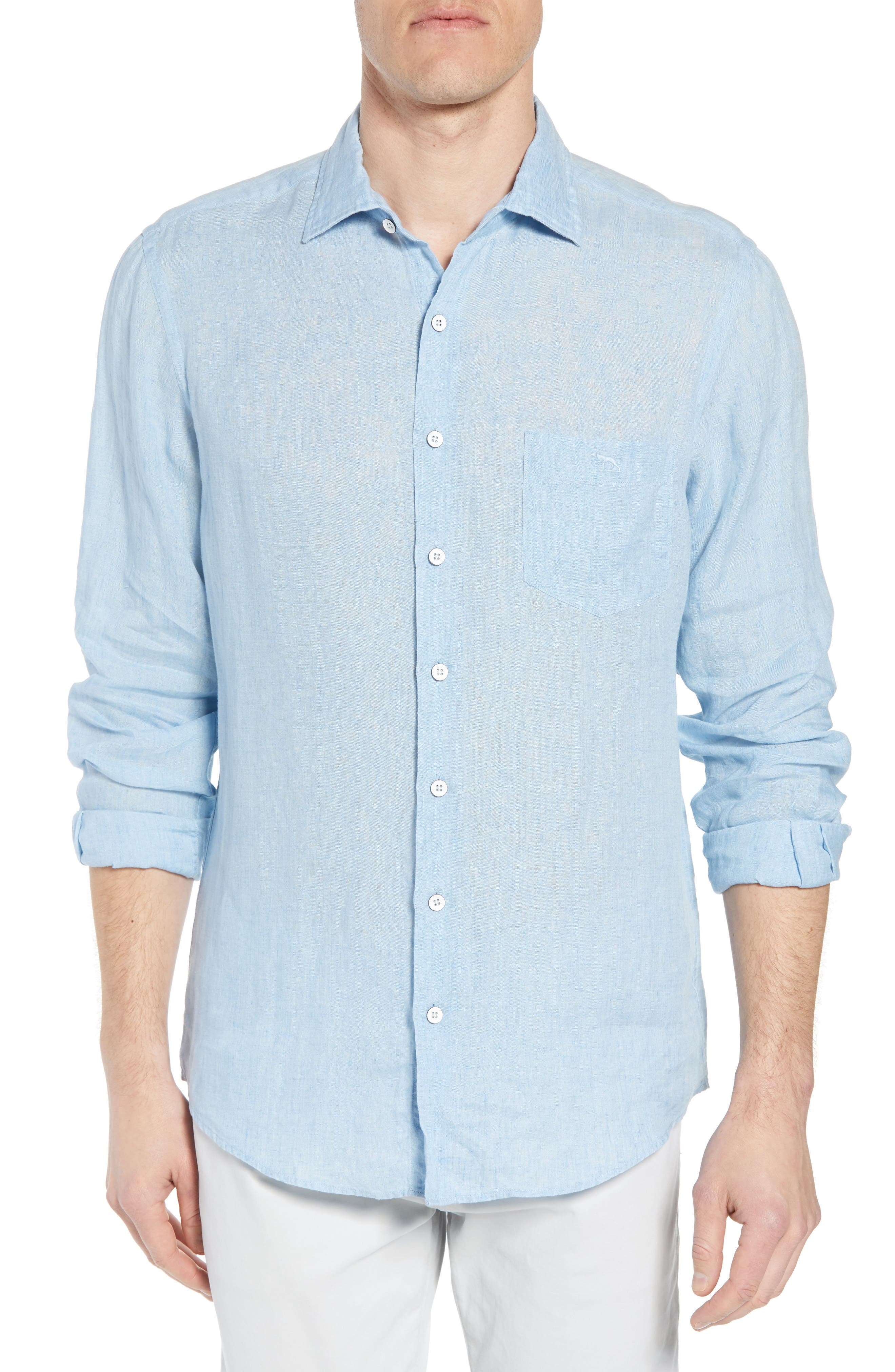 Harris Bay Regular Fit Linen Sport Shirt,                         Main,                         color, STONEWASH