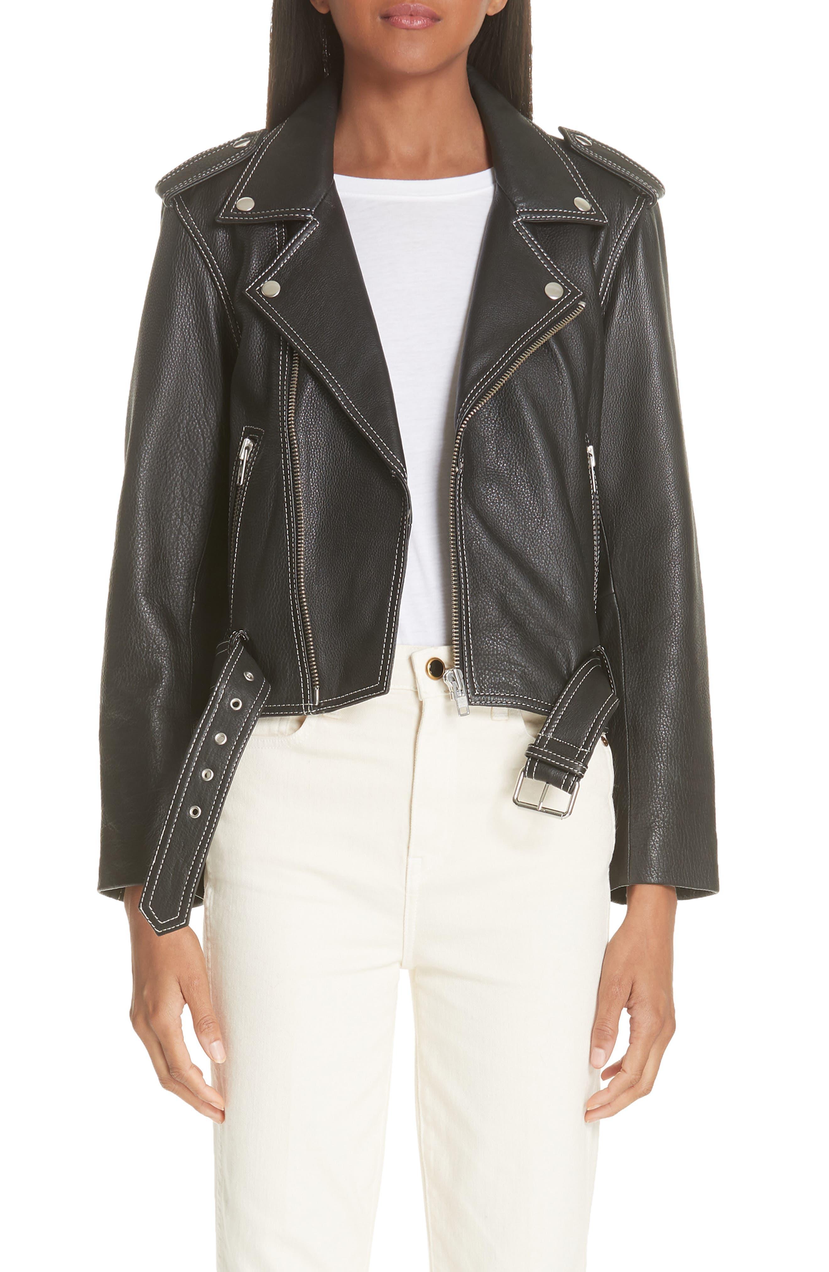 GANNI Angela Leather Jacket, Main, color, 099