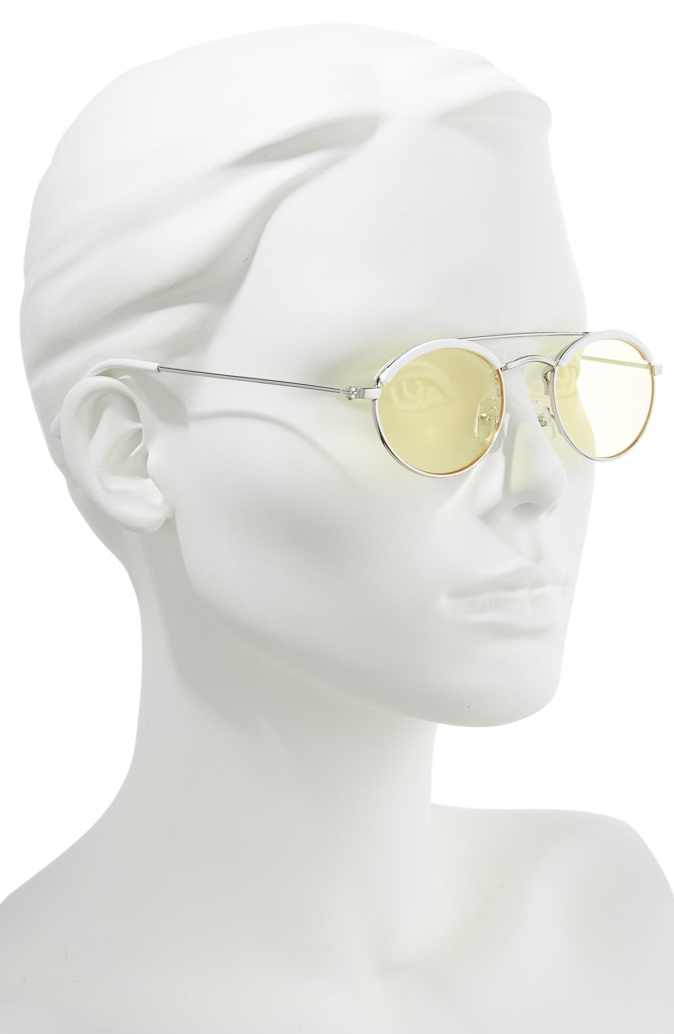 50mm Round Sunglasses,                             Alternate thumbnail 2, color,                             WHITE/ YELLOW