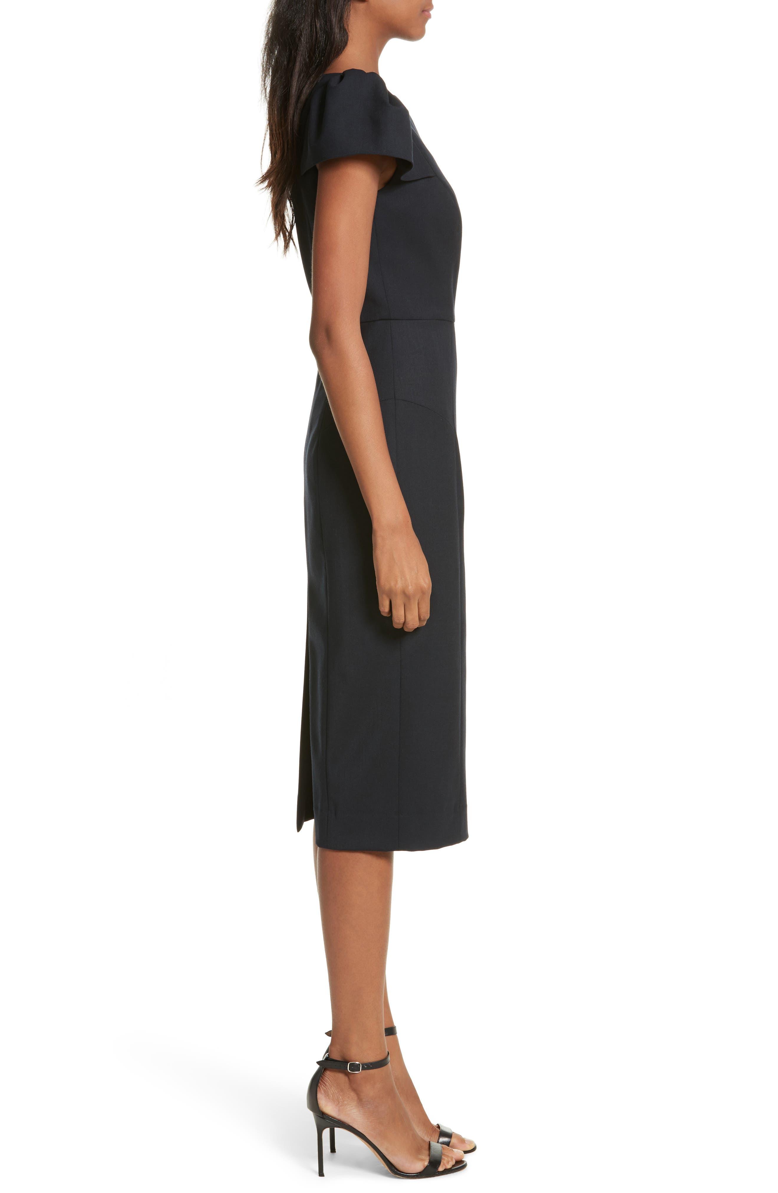 Gabardine Italian Wool Blend Midi Dress,                             Alternate thumbnail 3, color,                             410