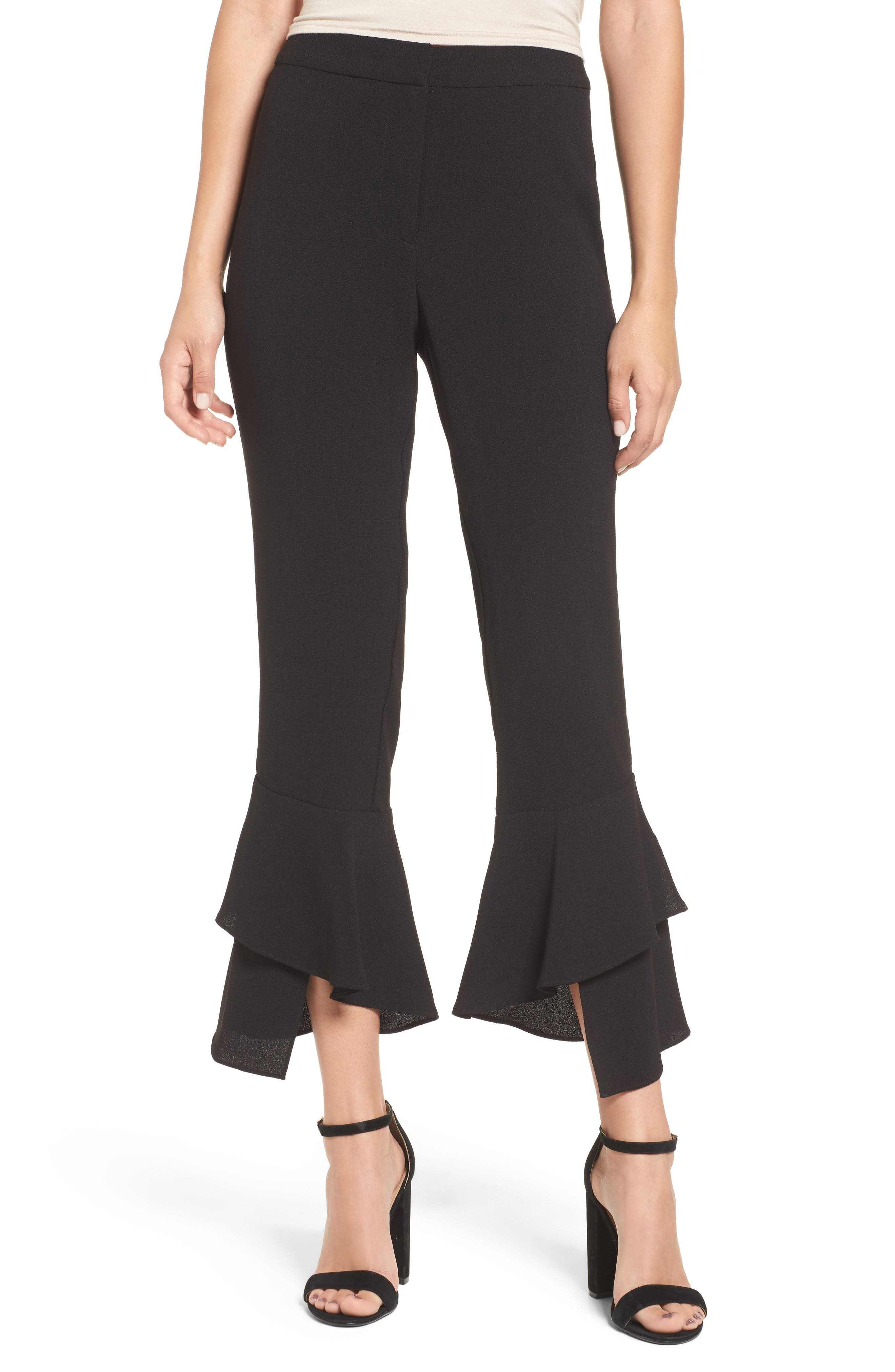 Gail Ruffle Hem Crop Pants,                             Main thumbnail 1, color,                             001