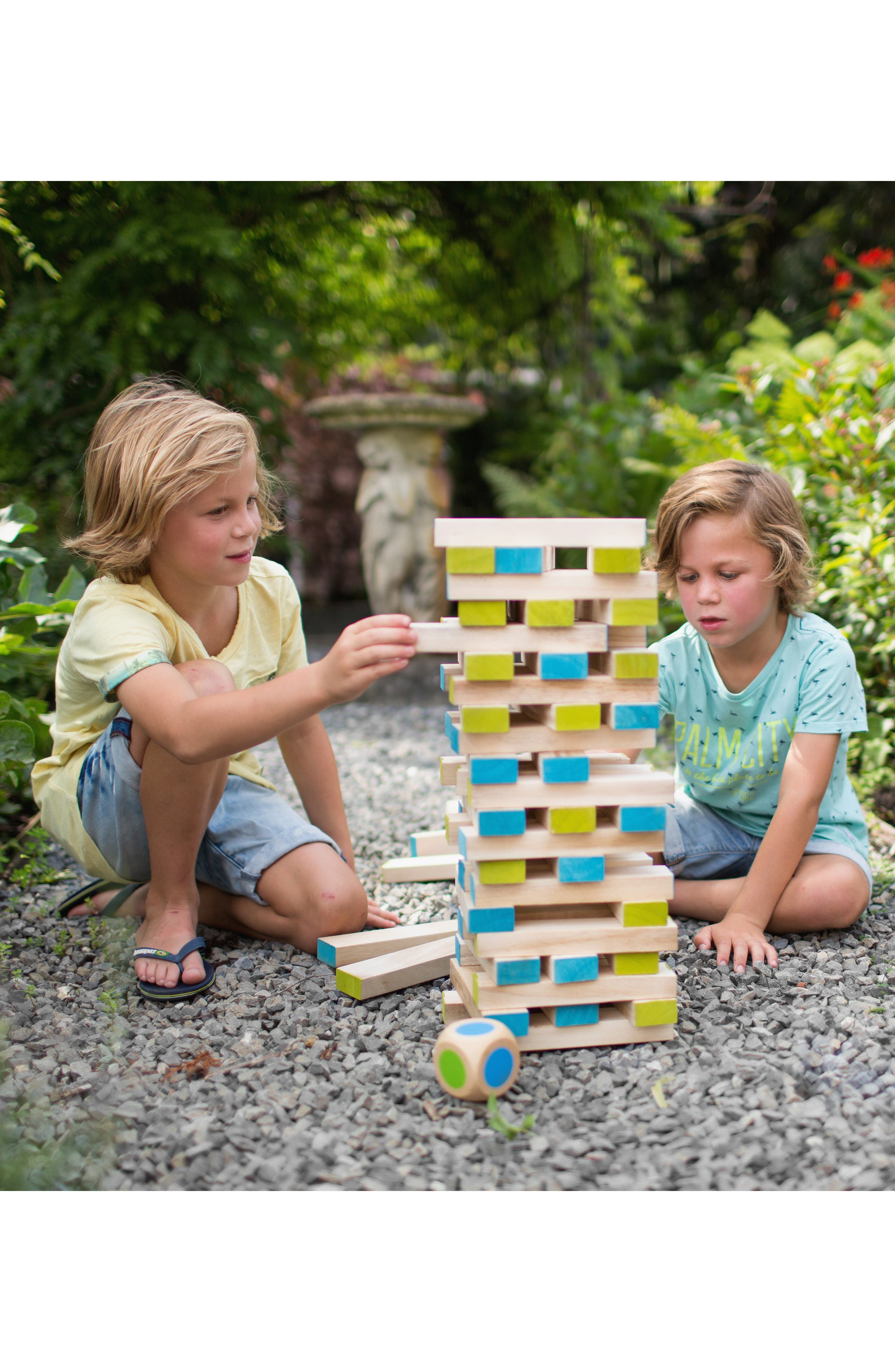 Large Wood Block Tower Toy,                             Alternate thumbnail 4, color,                             GREEN