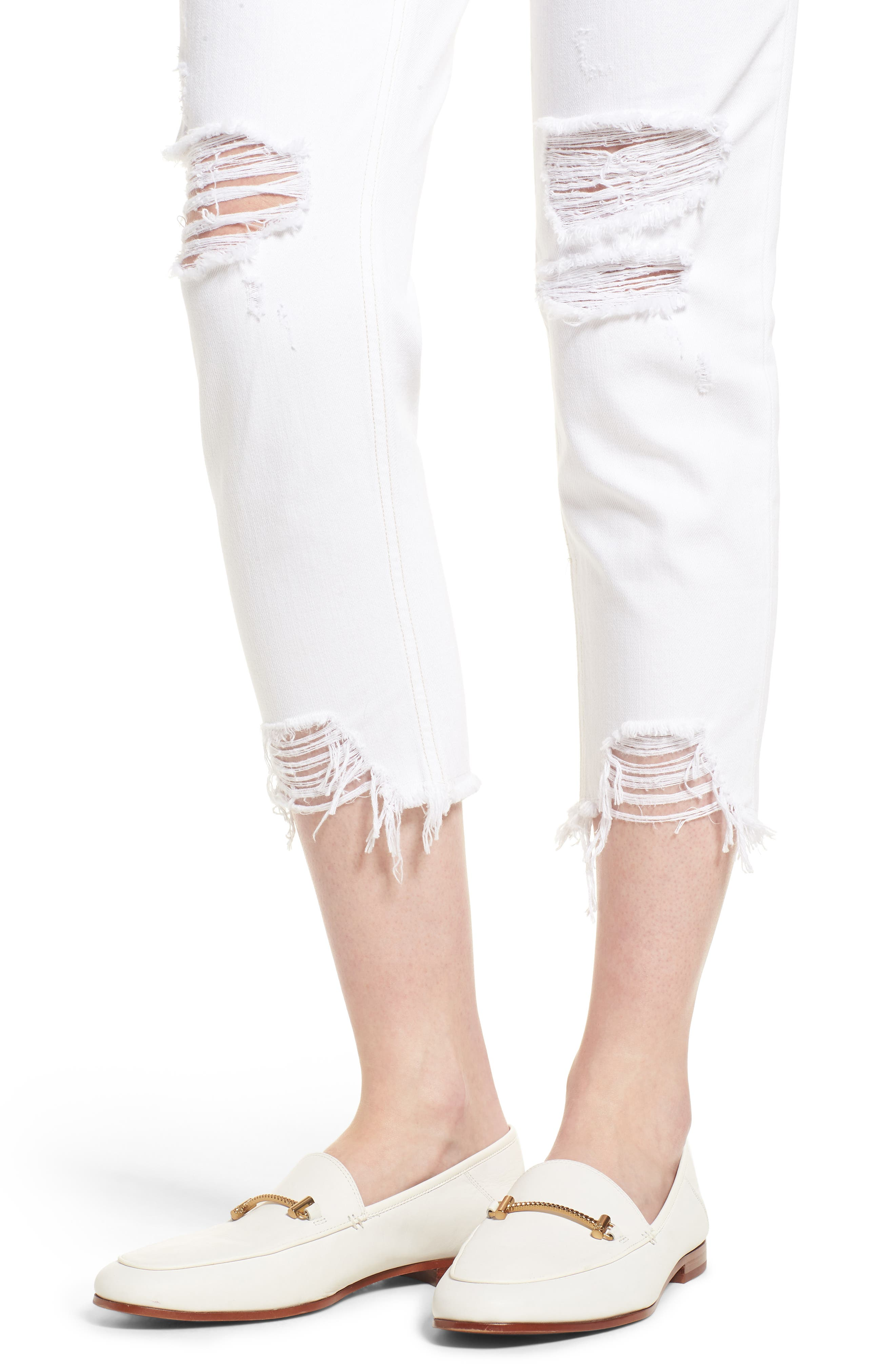 Vale Distressed Slant Fray Cuff Jeans,                             Alternate thumbnail 4, color,                             165