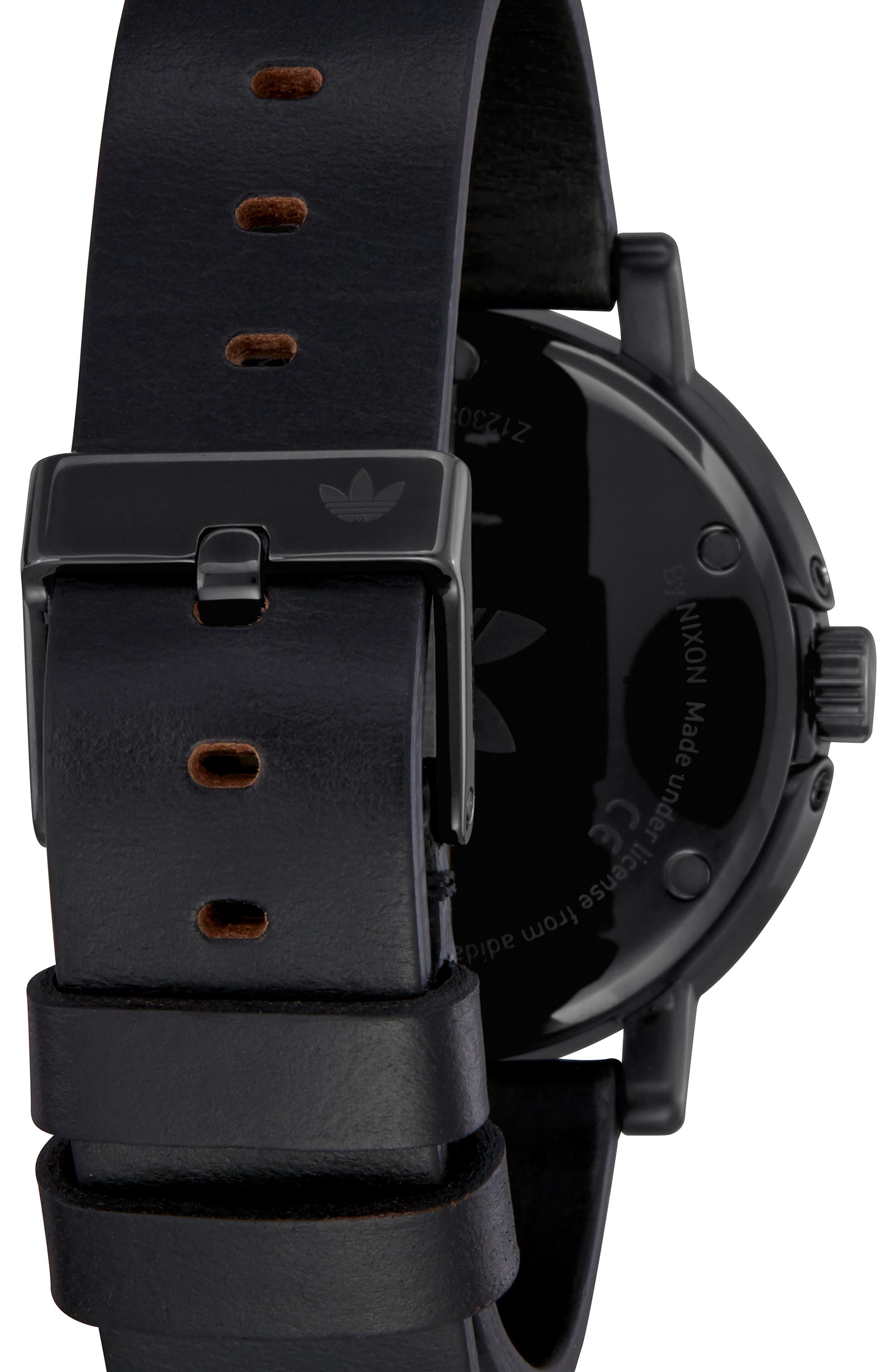 ADIDAS,                             District Leather Strap Watch, 40mm,                             Alternate thumbnail 2, color,                             BLACK/ ORANGE/ BLACK
