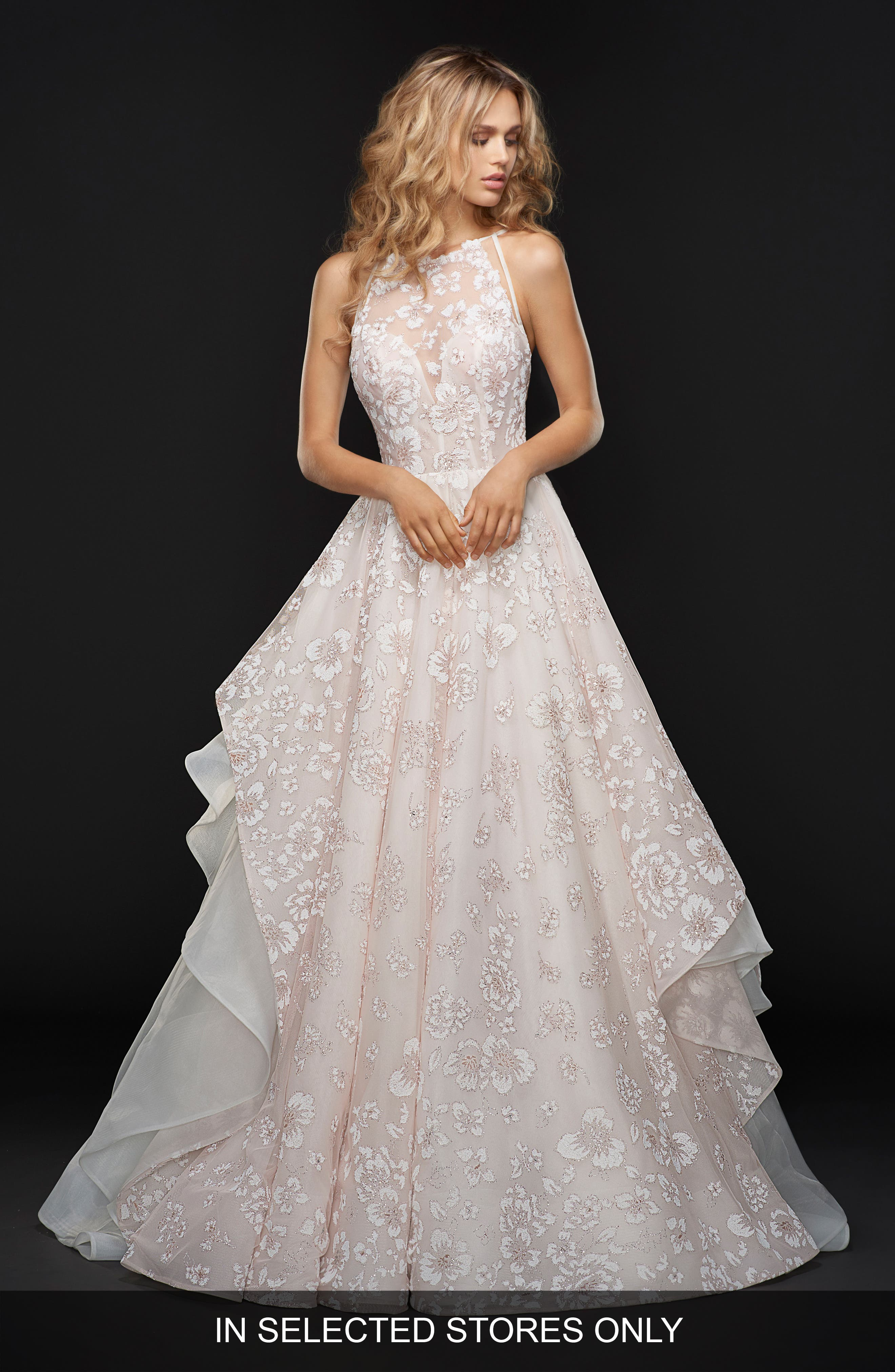Reagan Floral Embroidered Layered Ballgown,                         Main,                         color, ORCHID