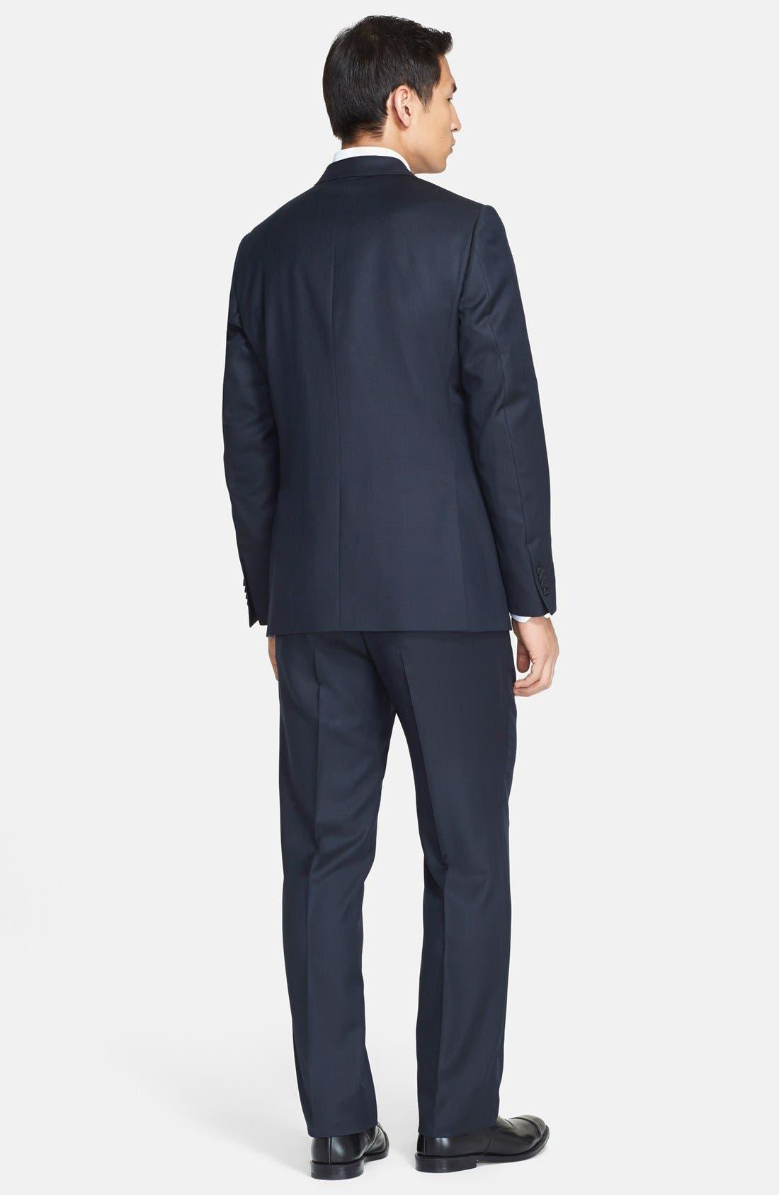 Trim Fit Navy Tic Weave Wool Suit,                             Alternate thumbnail 6, color,                             412