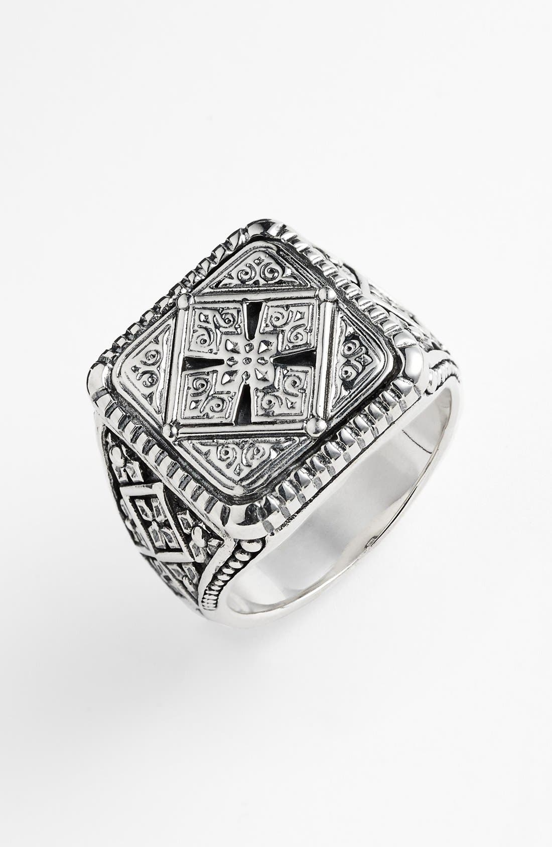 'Classics' Cross Square Ring,                             Main thumbnail 1, color,                             SILVER