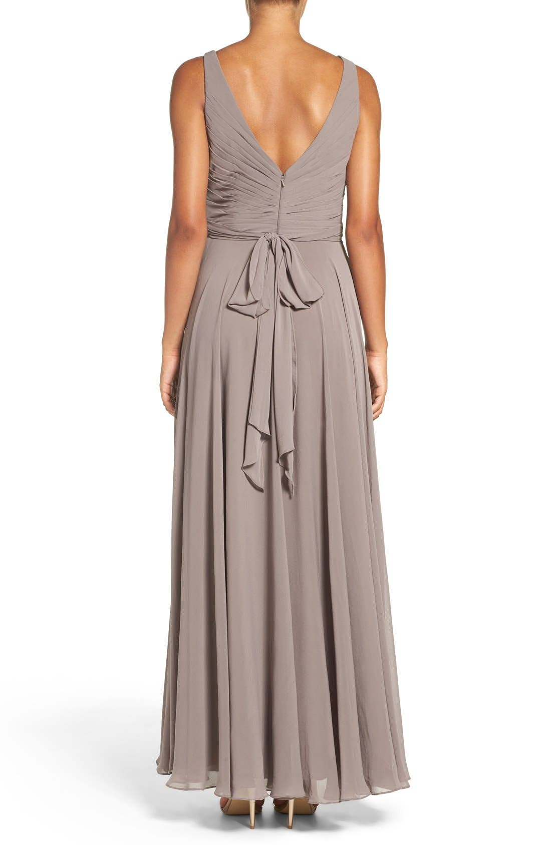 Karen V-Neck A-Line Chiffon Gown,                             Alternate thumbnail 5, color,                             020