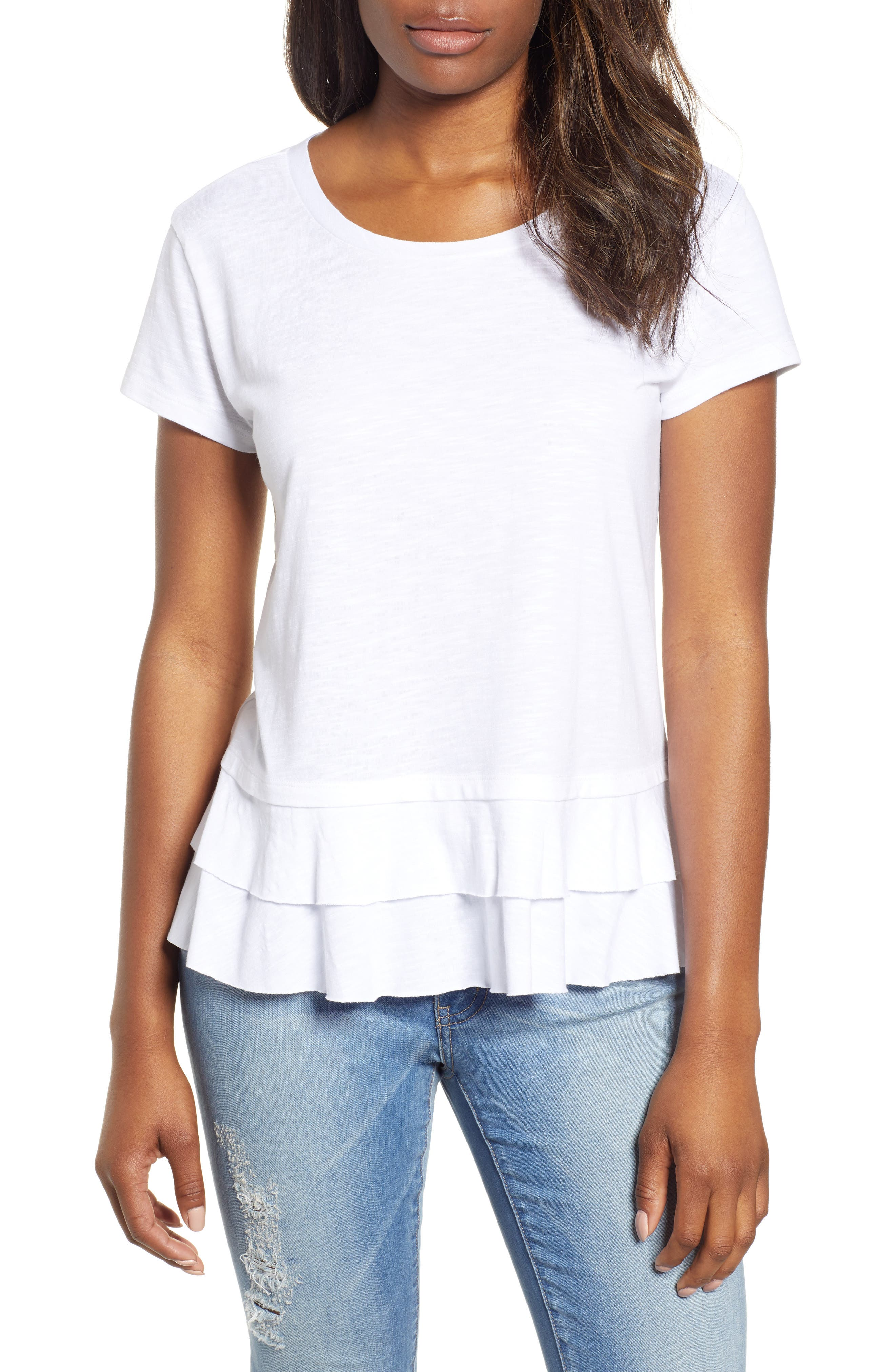 CASLON<SUP>®</SUP> Tiered Short Sleeve Tee, Main, color, WHITE