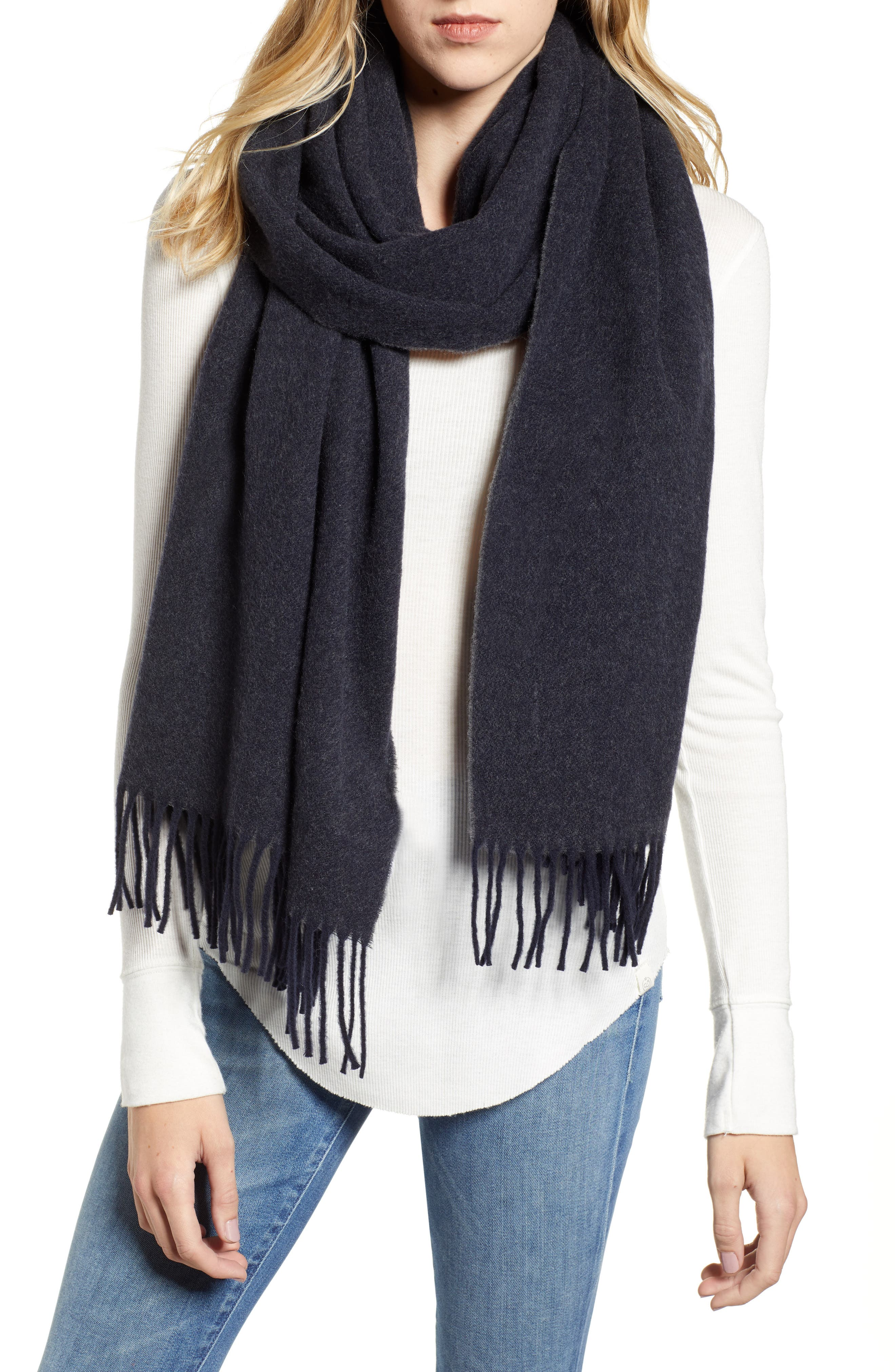 Two Tone Woven Wool Scarf,                         Main,                         color, NAVY