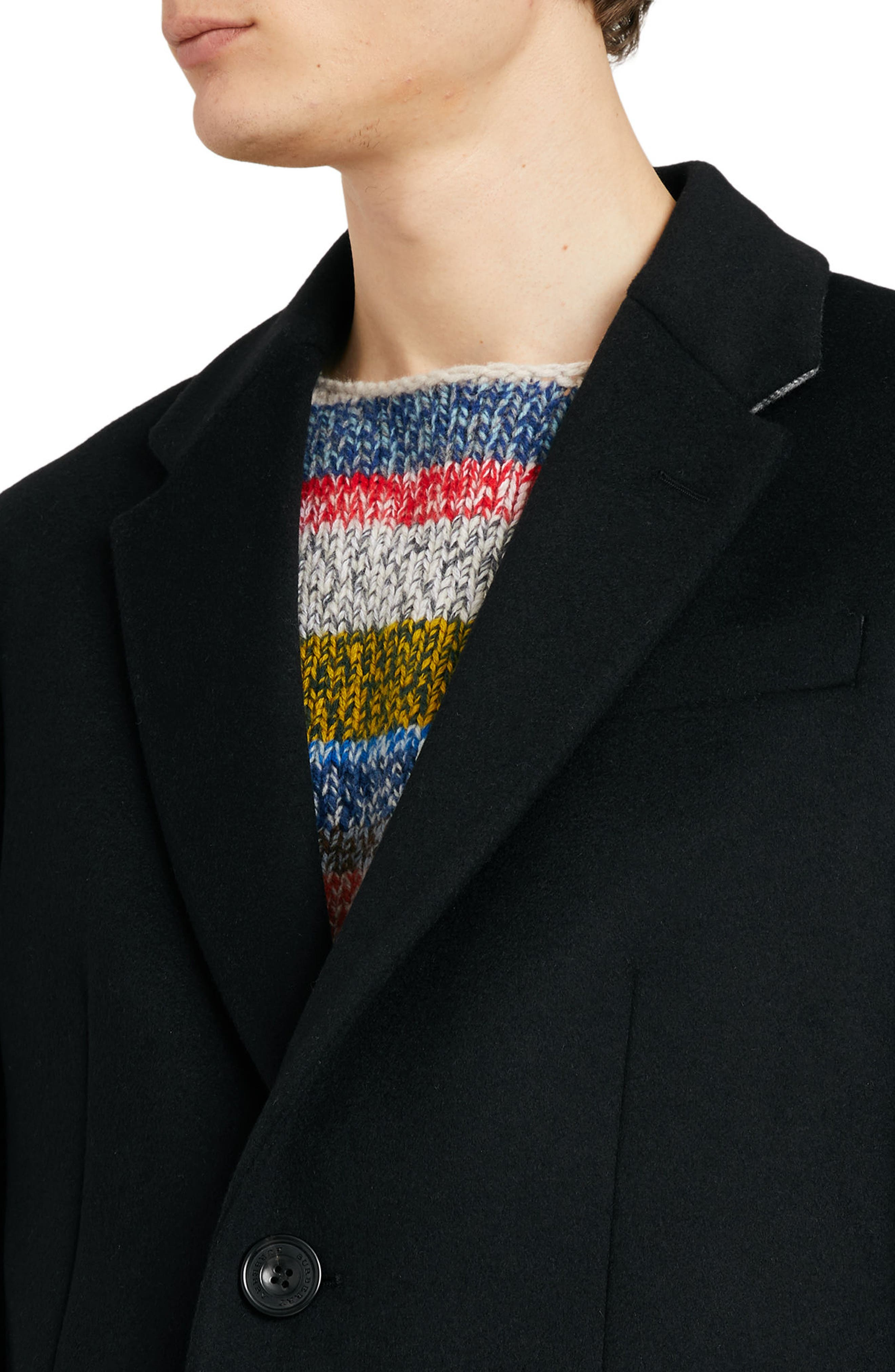 BURBERRY,                             Halesowen Wool and Cashmere Overcoat,                             Alternate thumbnail 3, color,                             001