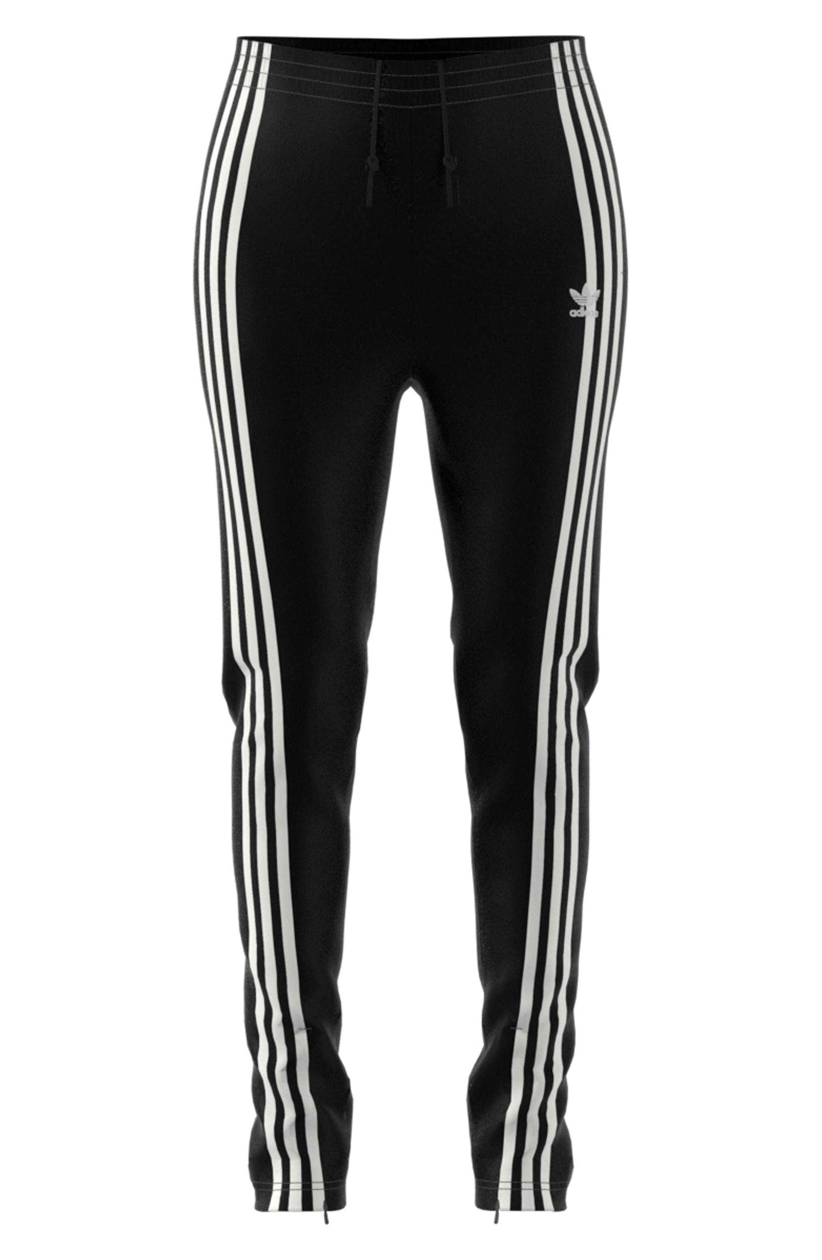 adidas 3 Stripe Track Pants,                             Alternate thumbnail 7, color,                             BLACK