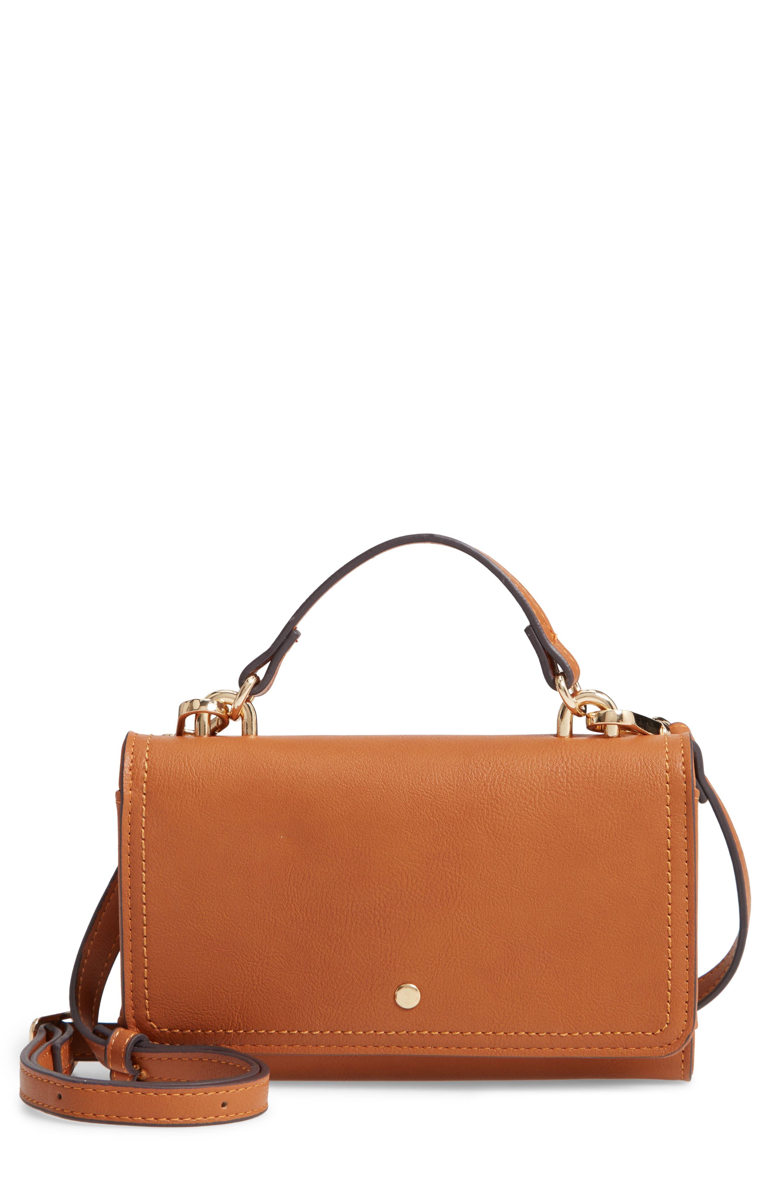 Faux Leather Phone Wallet,                         Main,                         color, COGNAC